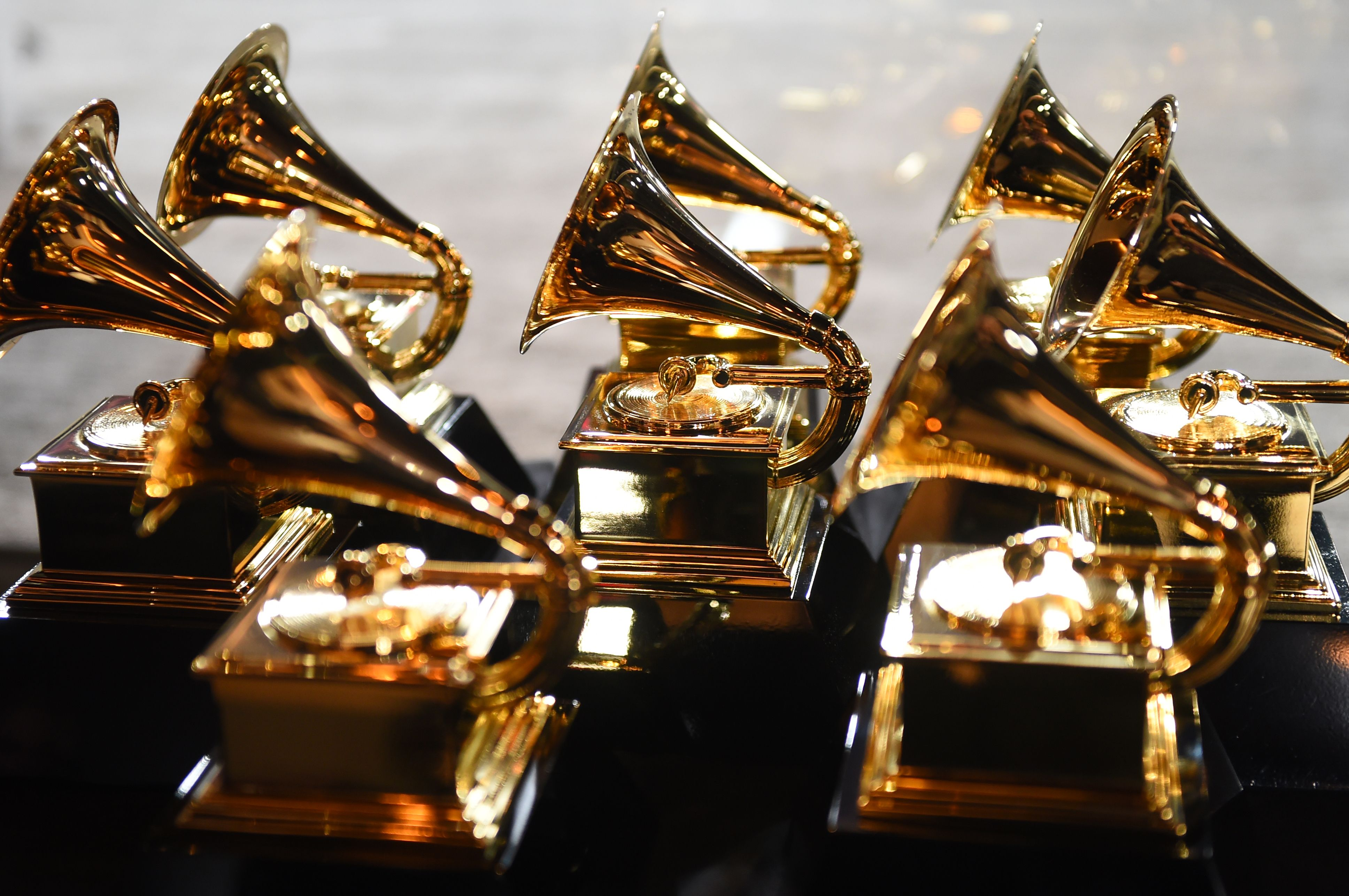 Grammy trophies sit in the press room during the 60th Annual Grammy Awards on January 28, 2018, in New York.