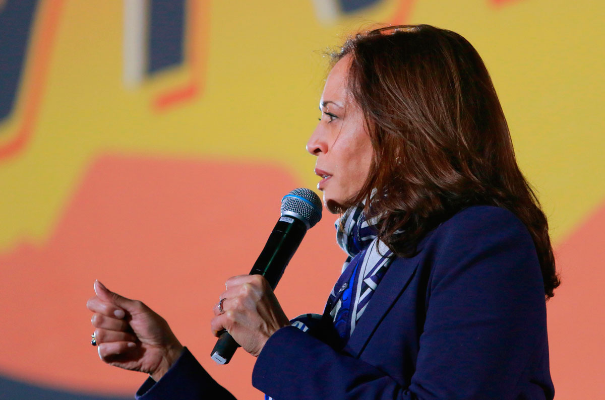 Kamala Harris speaks during a voter mobilization event on October 27 in Las Vegas.