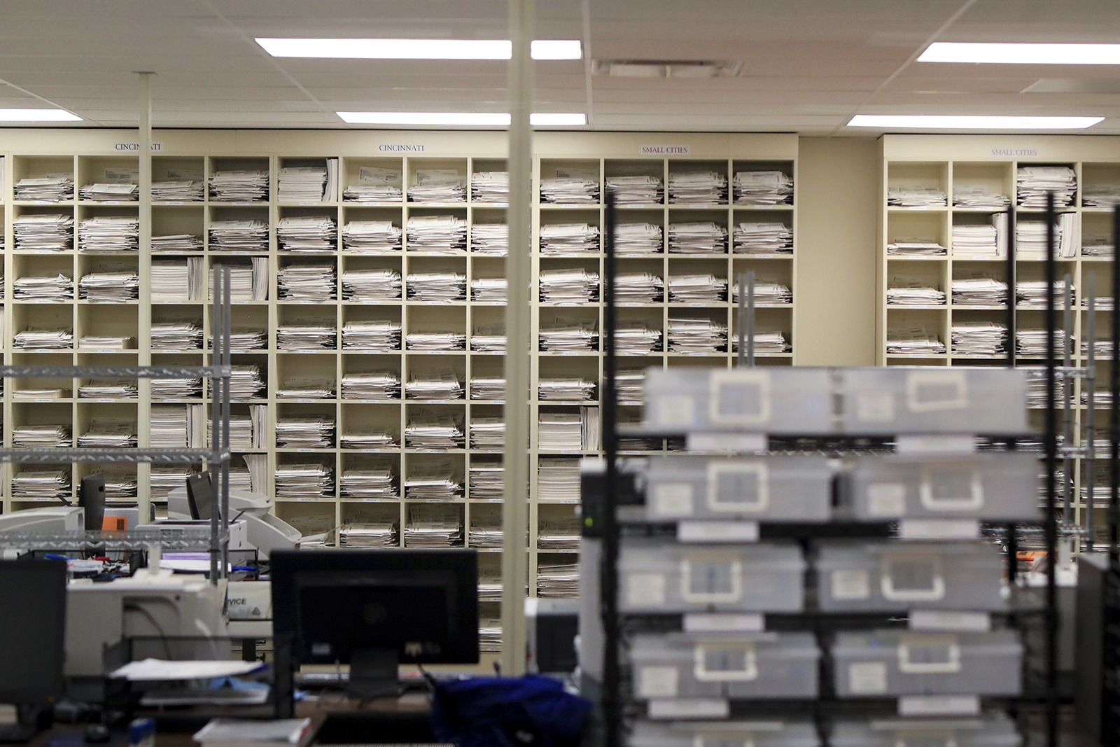 A view of the ballot counting room during the general elections at the Hamilton County Board of Elections, on Tuesday, in Norwood, Ohio.