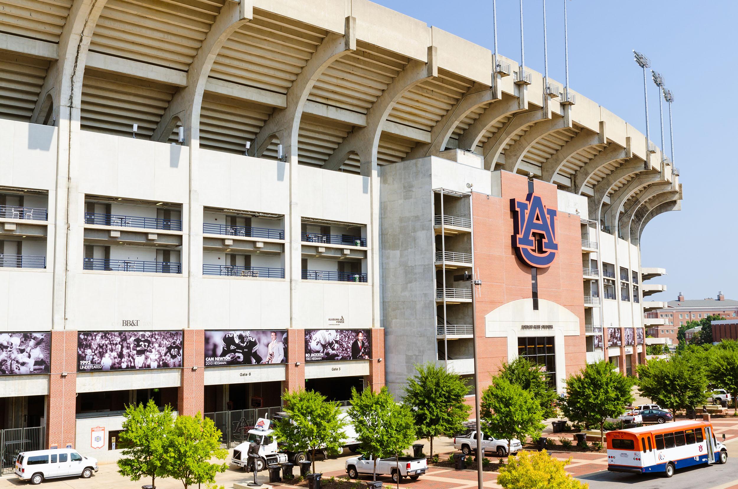 Facade of Jordan Hare stadium on the campus of Auburn University in Auburn, Alabama.
