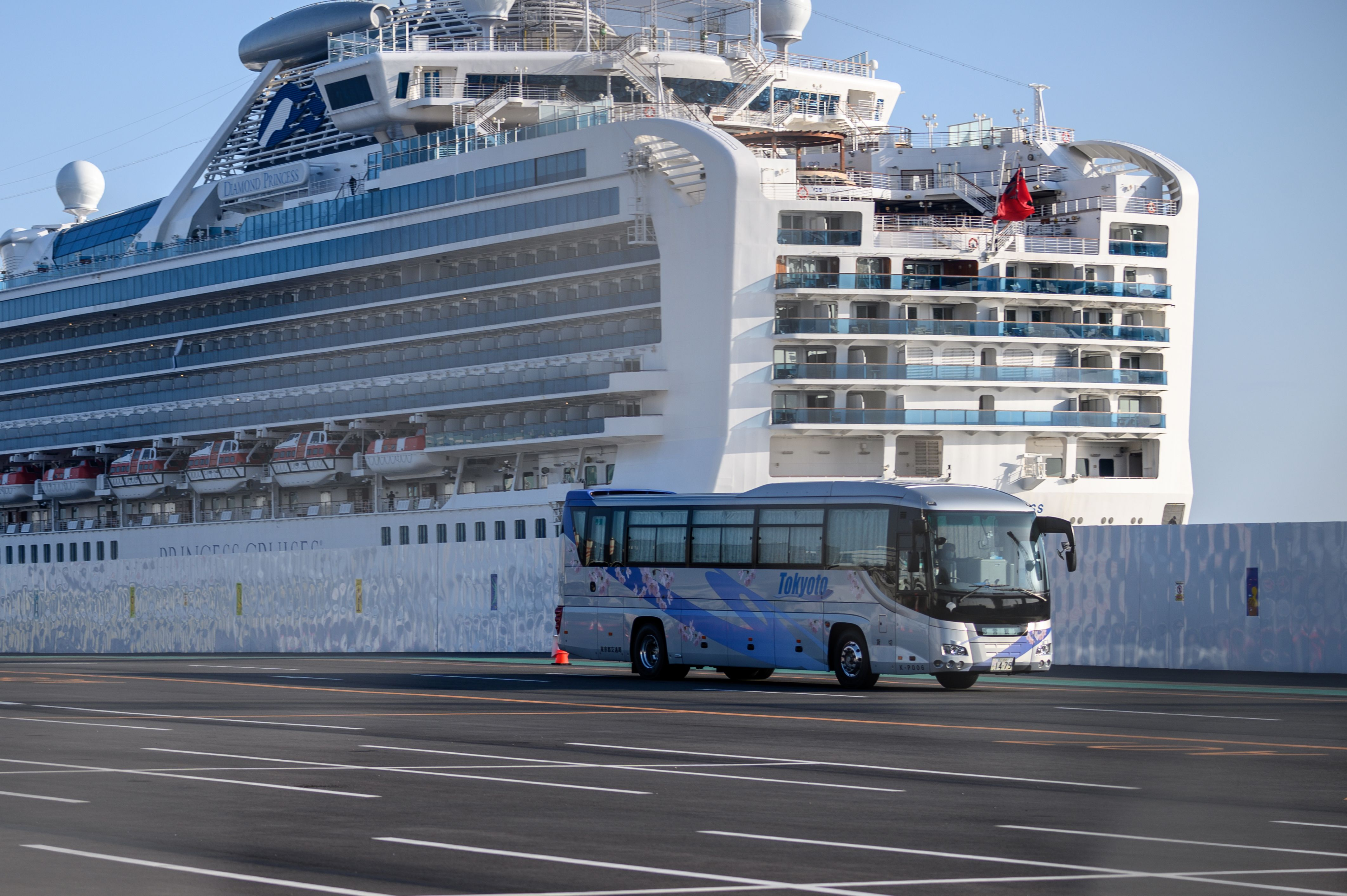 The Diamond Princess cruise ship, in quarantine due to fears of COVID-19, at Daikoku pier cruise terminal in Yokohama.