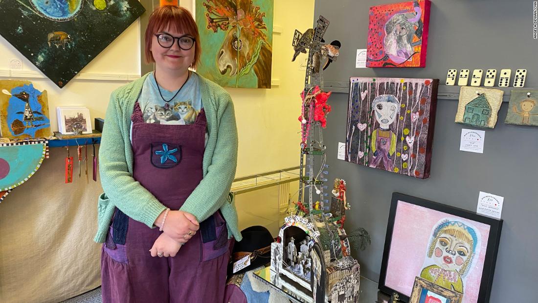 Lorna Elaine Hosking, manager of the Mining Exchange Art Studios Gallery, in Redruth, Cornwall, England, on June 11. Angela Dewan/CNN