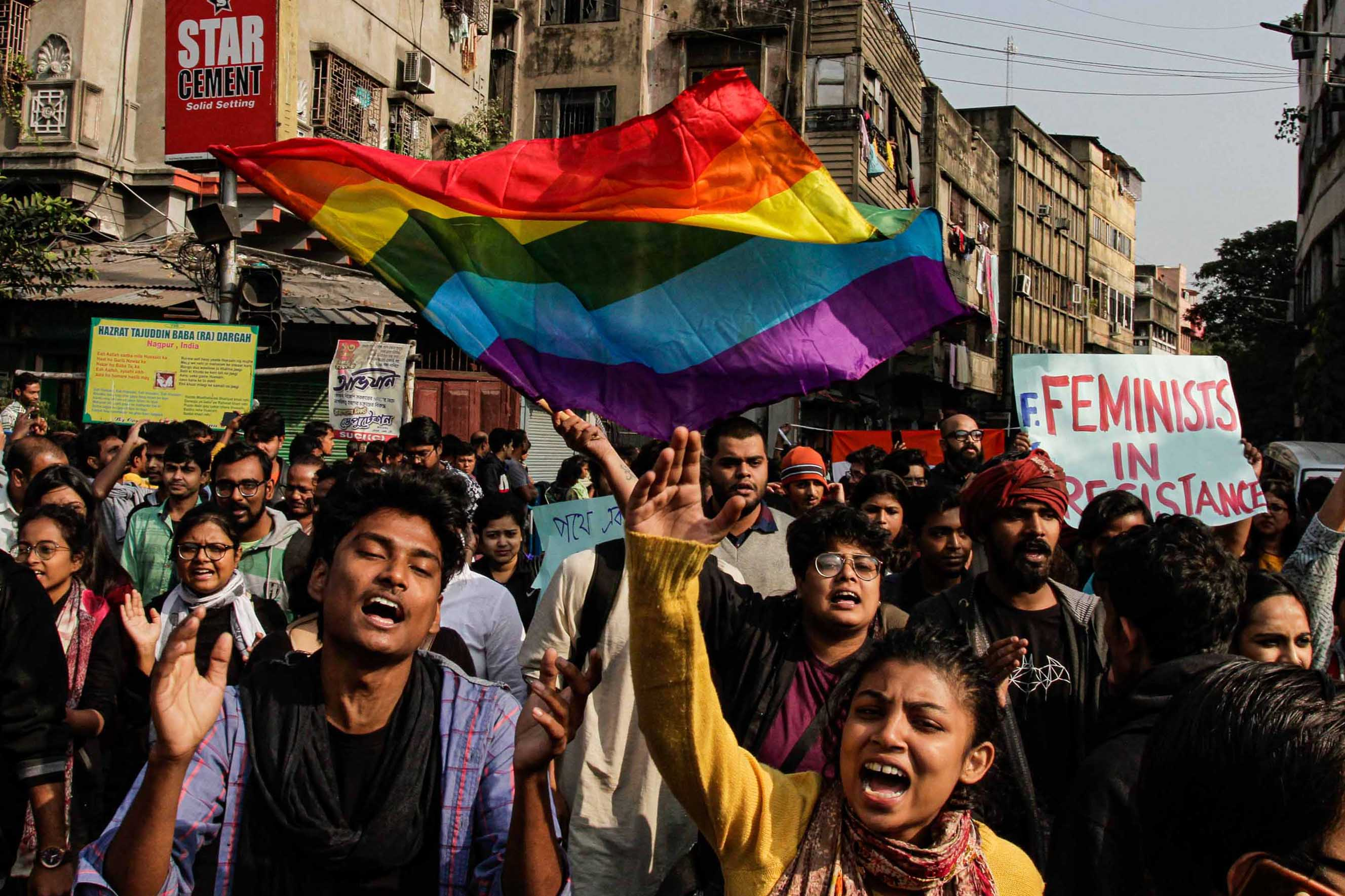 LGBTQ activists demonstrate against the Citizenship Amendment Act and National Register of Citizens in Kolkata. Photo: Bikas Das/AP