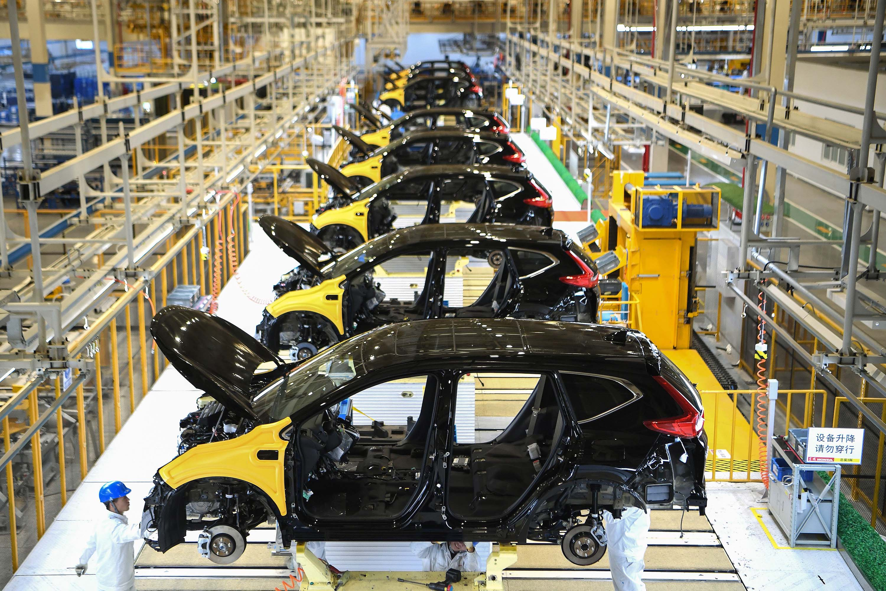 An assembly line is pictured at the Dongfeng Honda plant in Wuhan in November 2019.