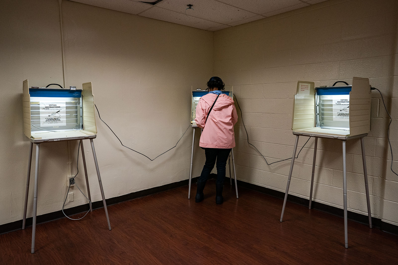 A person votes in Detroit, Michigan, on October 15.