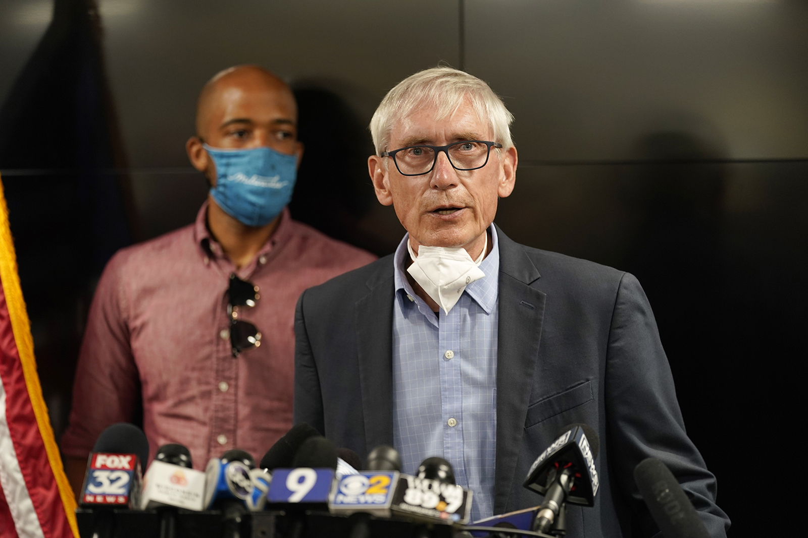 Wisconsin Governor Tony Evers speaks during a news conference Thursday, August 27, in Kenosha.