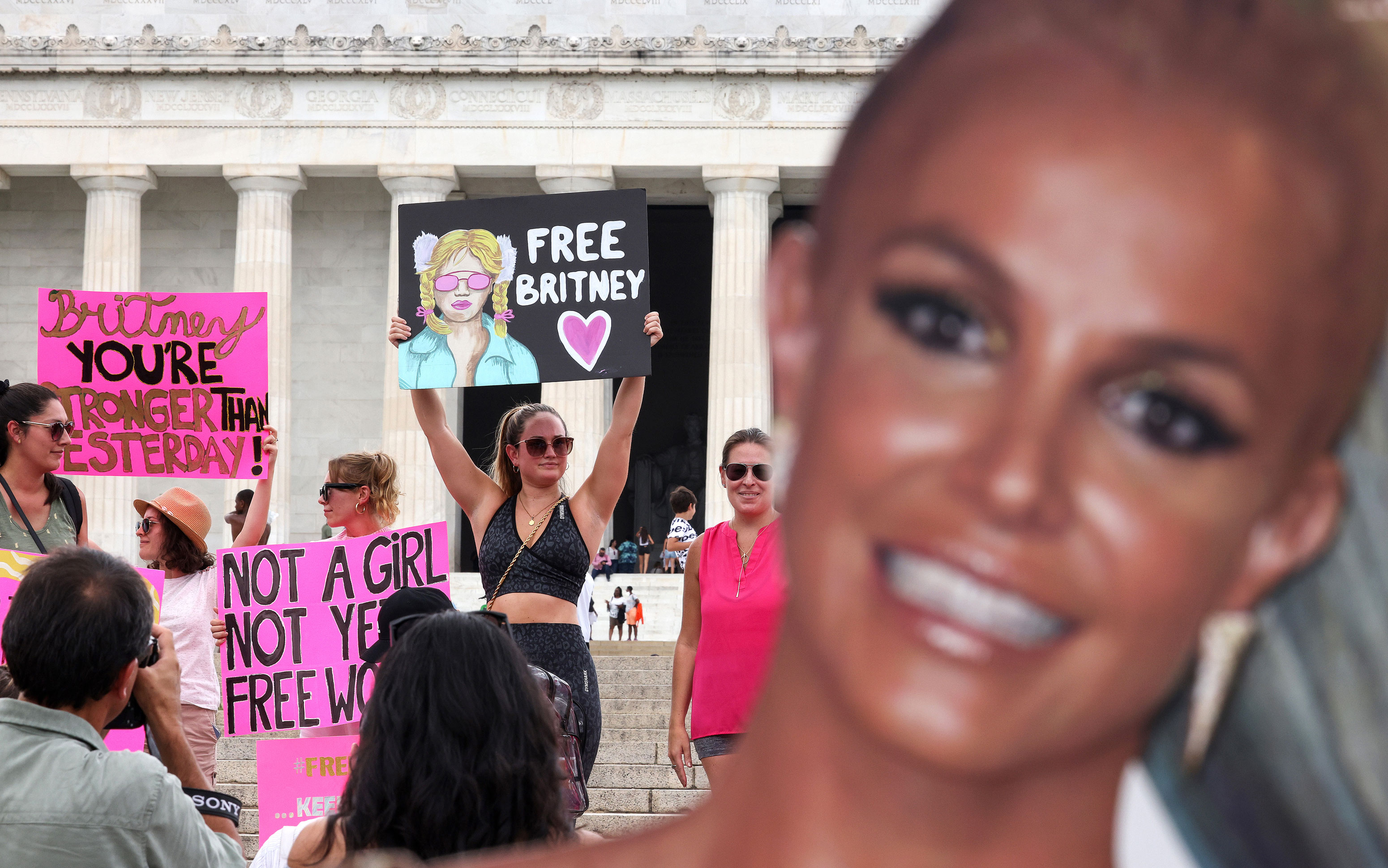Supporters of popular  prima  Britney Spears enactment   successful  a #FreeBritney rally astatine  the Lincoln memorial connected  Wednesday, July 14, successful  Washington, DC.