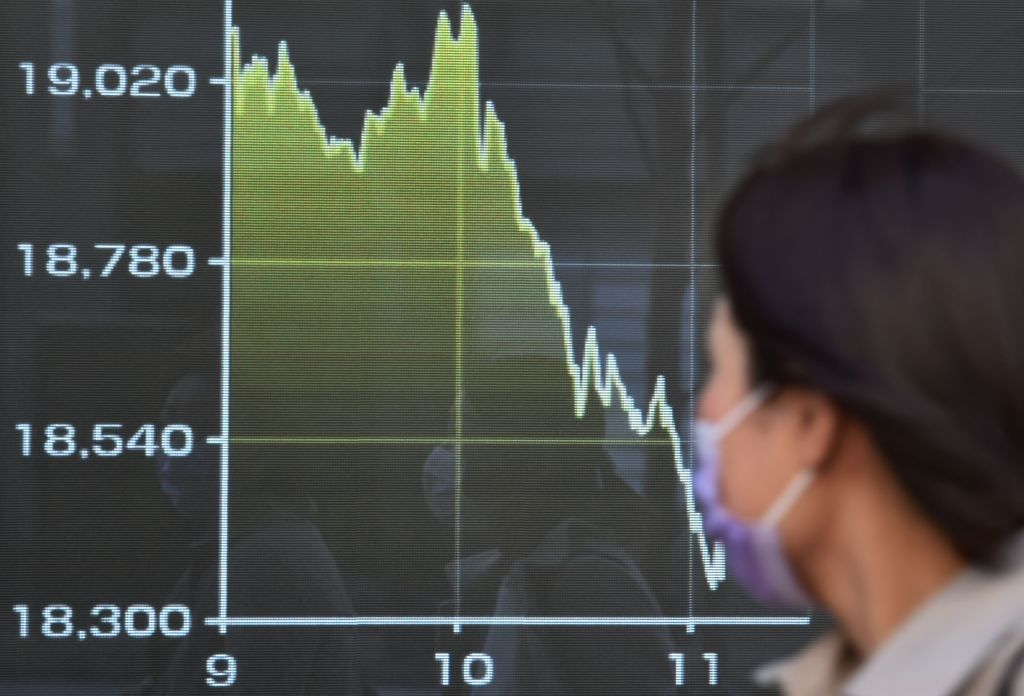 A display of the Tokyo Stock Exchange today, which closed down 4.41% after President Donald Trump announced a surprise travel ban.