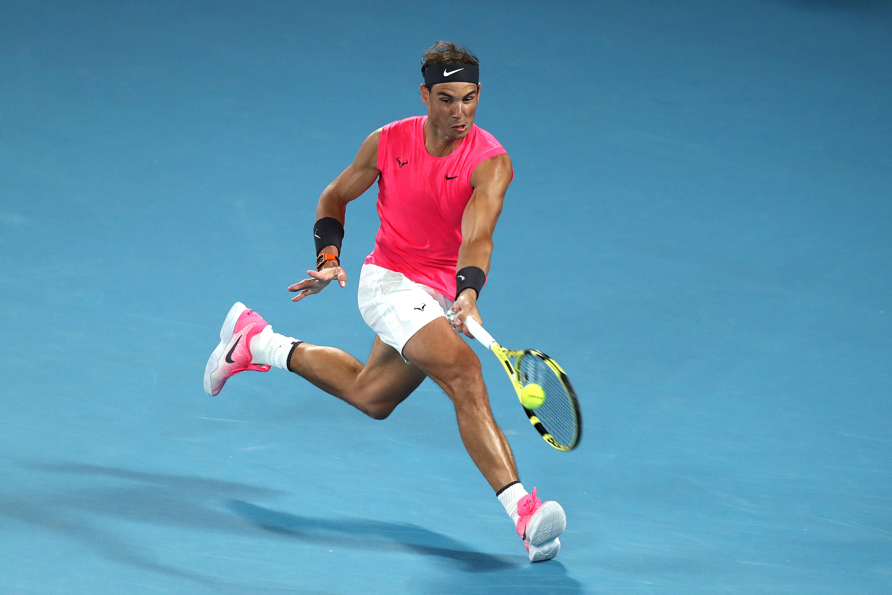 Rafael Nadal in action against Nick Kyrgios.