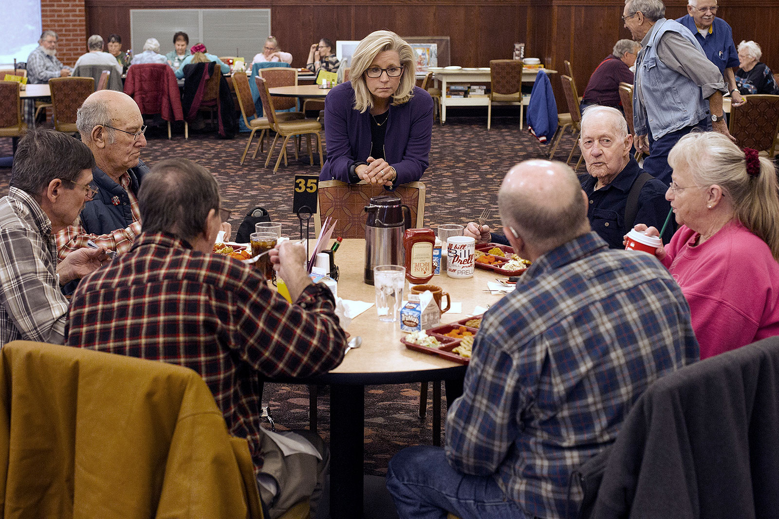 Cheney talks to people at the Senior Citizens Center in Gillette, Wyoming, in February 2016. Earlier in the day, she announced that she was running for Congress.