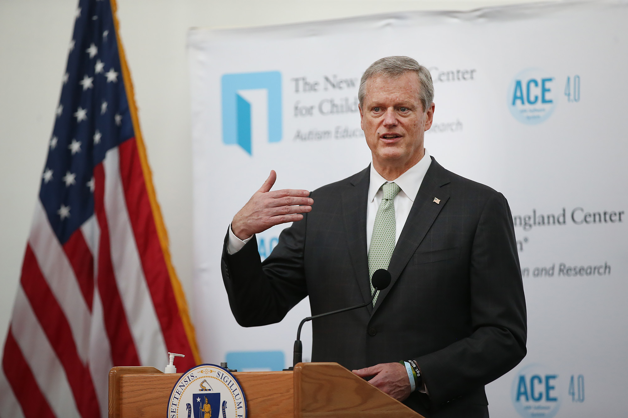 Governor Charlie Baker speaks at a press conference after a tour of The New England Center for Children on July 13, 2020 in Southborough, Massachusetts.