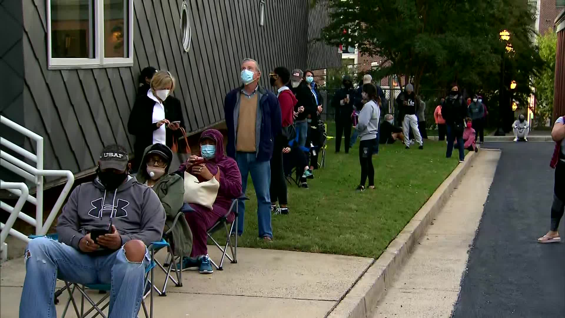 People wait to vote in Fulton County, near Atlanta, on October 14.
