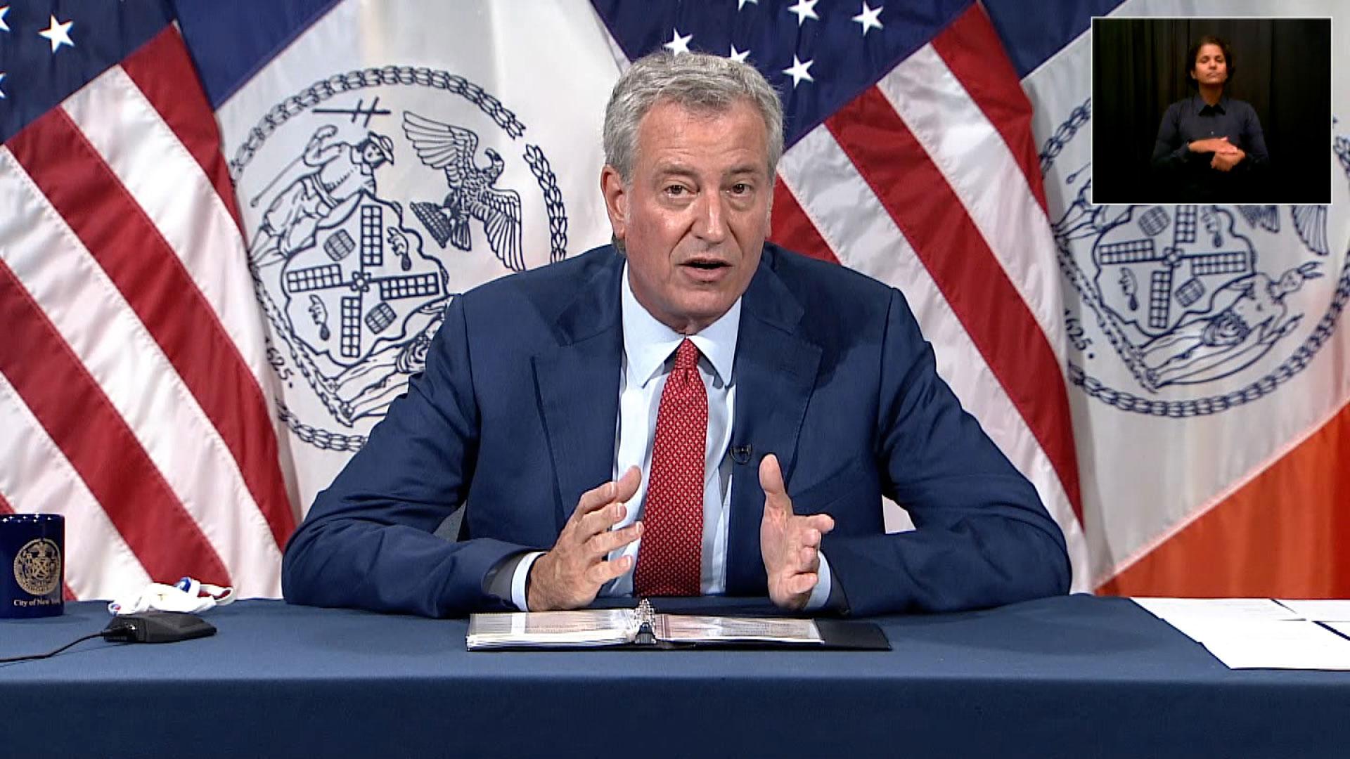 Mayor Bill de Blasio speaks in New York on June 9.