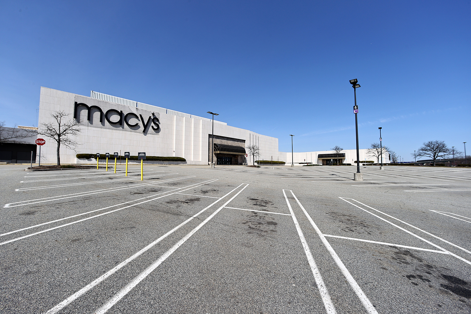 A view of the empty parking lot at the Westfield Garden State Plaza in Paramus, New Jersey, on March 18.