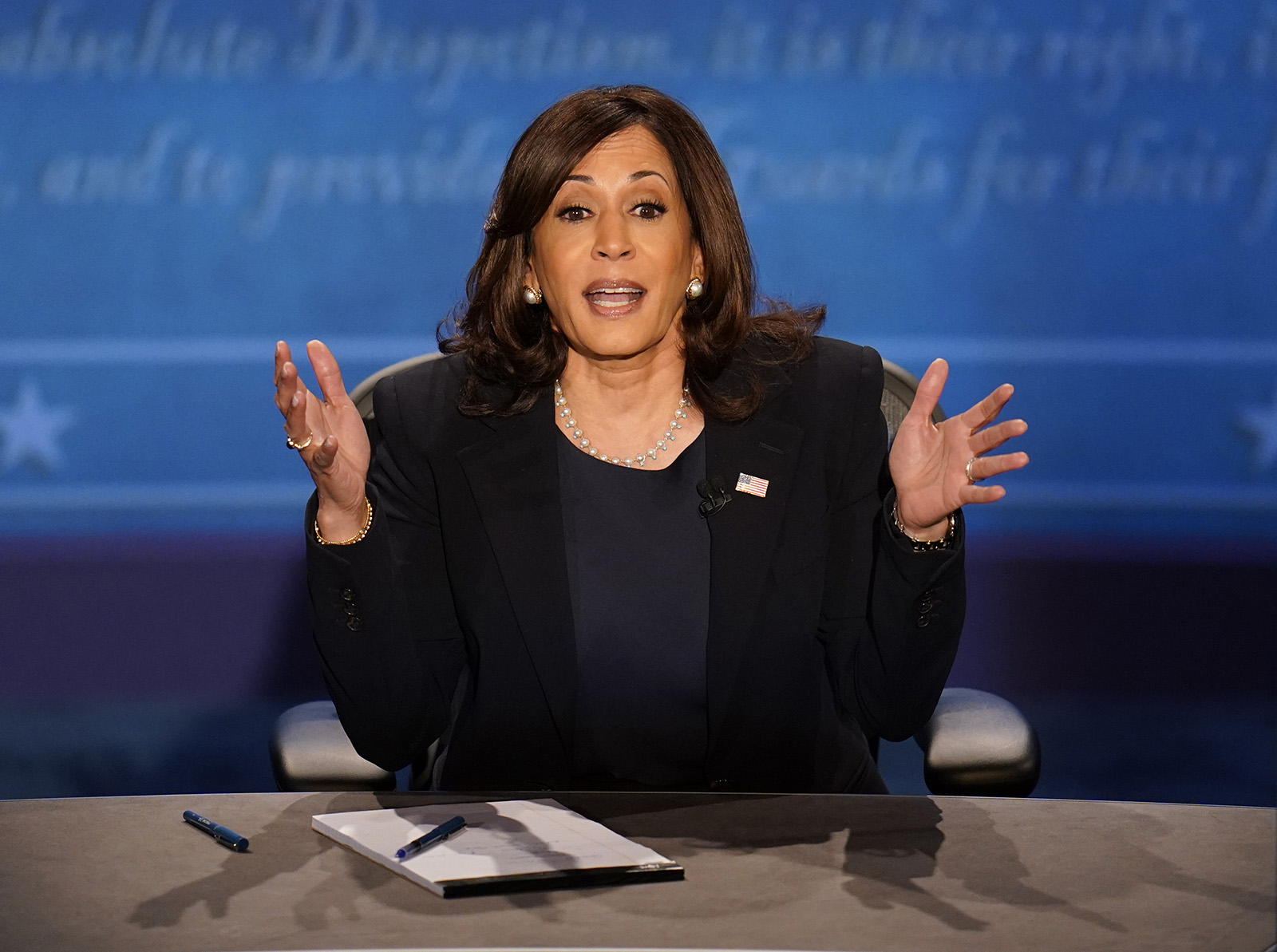 Democratic vice presidential candidate Sen. Kamala Harris responds to a question during the vice presidential debate on Wednesday in Salt Lake City.