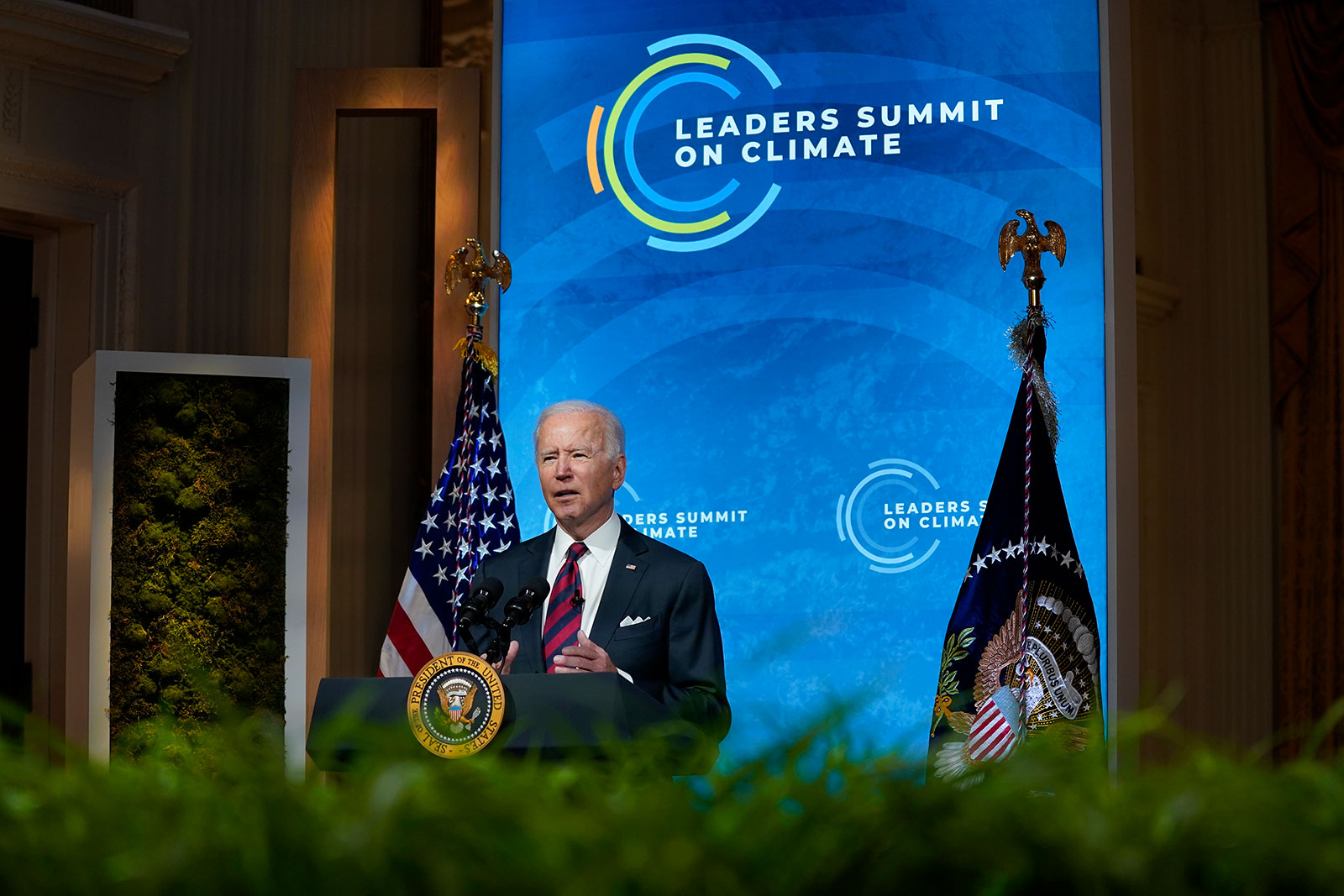 President Biden speaks during the virtual Leaders Summit on Climate from the East Room of the White House on Thursday.