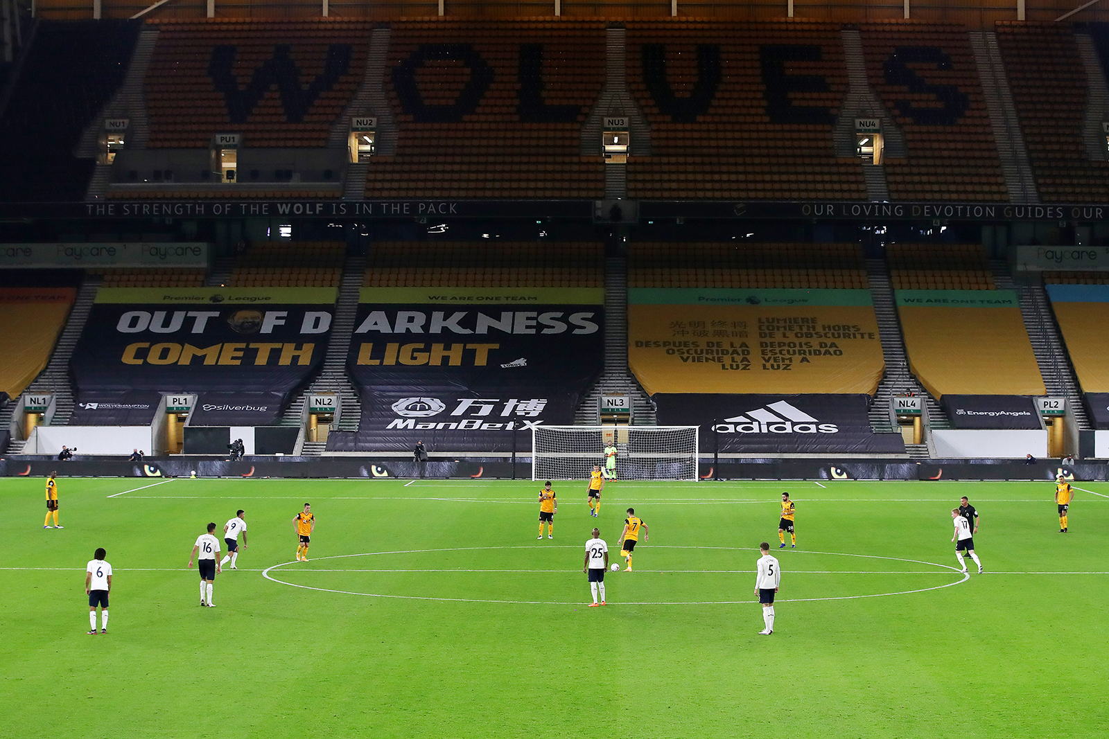Premier League kickoff between Wolverhampton Wanderers and Manchester City to an empty Molineux stadium in Wolverhampton, England, on September 21.