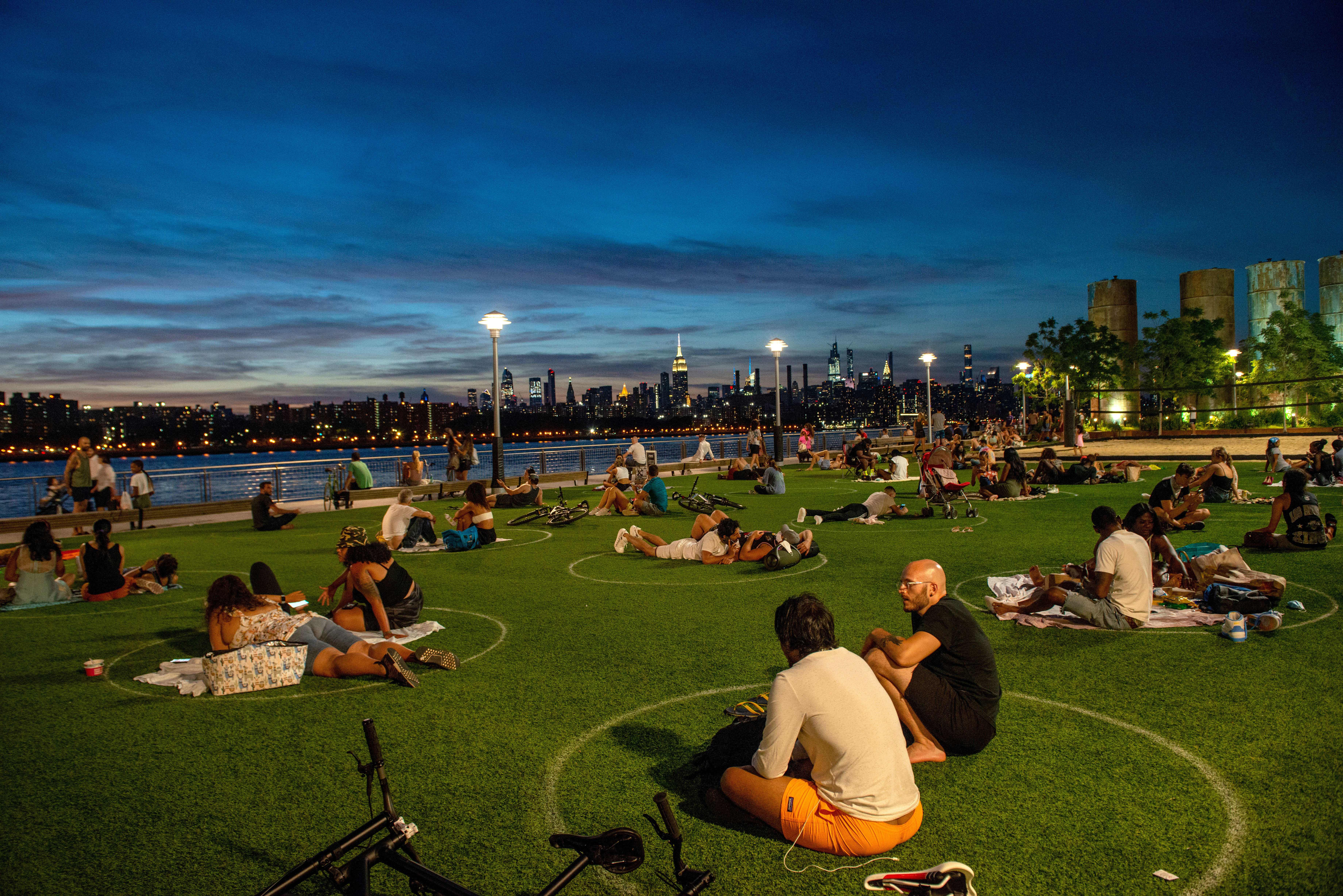 People visit Domino Park in Brooklyn, New York, on July 26.