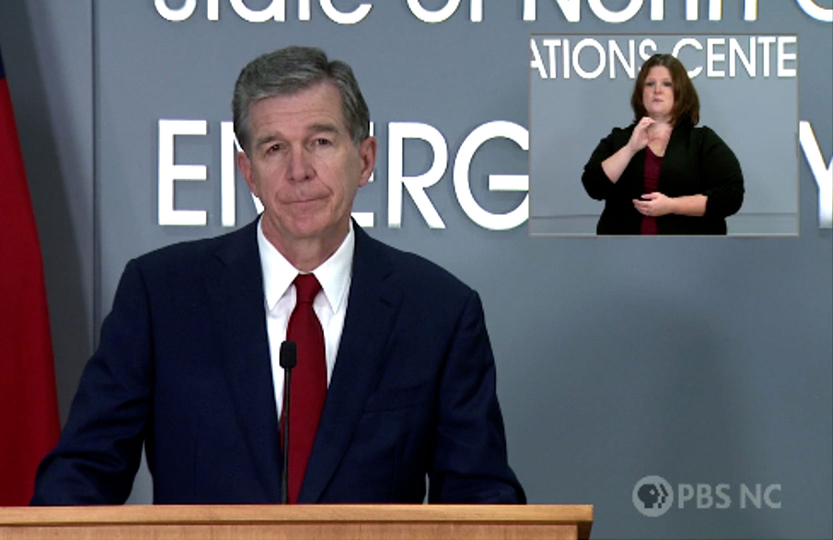 Gov. Roy Cooper speaks at a press conference in Raleigh, North Carolina, on September 9.