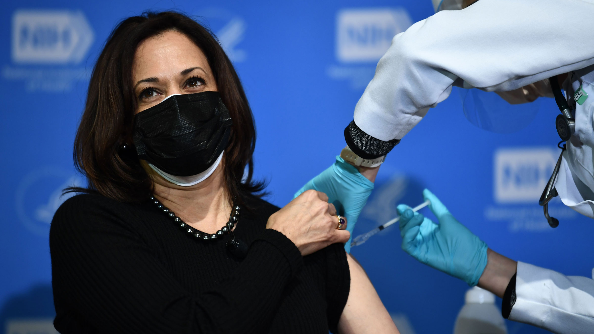 Vice President Kamala Harris receives her second dose of the Covid-19 vaccine.