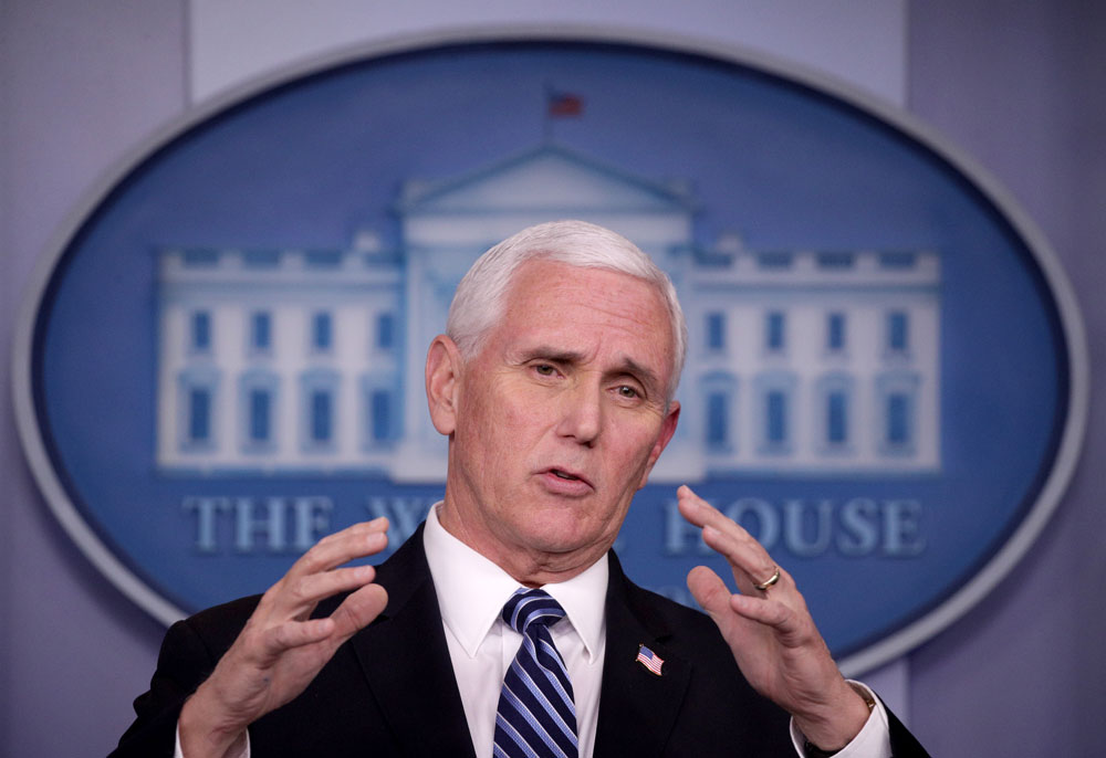US Vice President Mike Pence speaks during the daily coronavirus briefing in the Brady Press Briefing Room at the White House on April 9 in Washington.