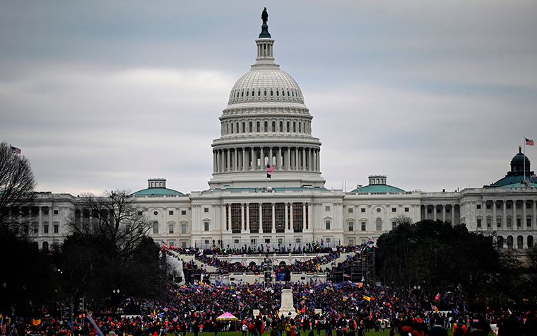 Donald Trumpsupporters gathering outside the US Capitol on January 6, 2021, in Washington, DC.