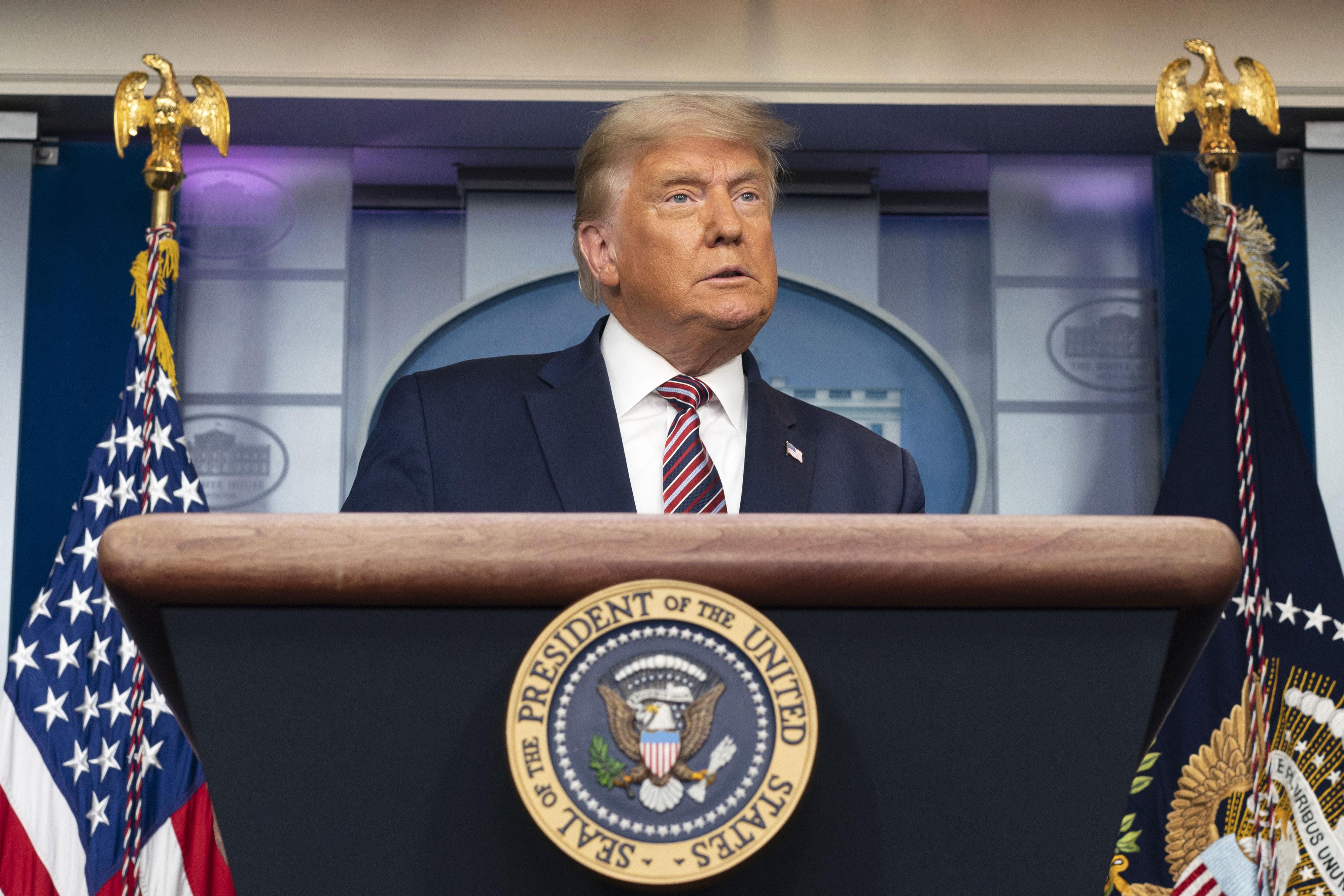 دونالد ترامپ ، رئیس جمهور آمریکا ، 5 نوامبر در کاخ سفید صحبت می کند.