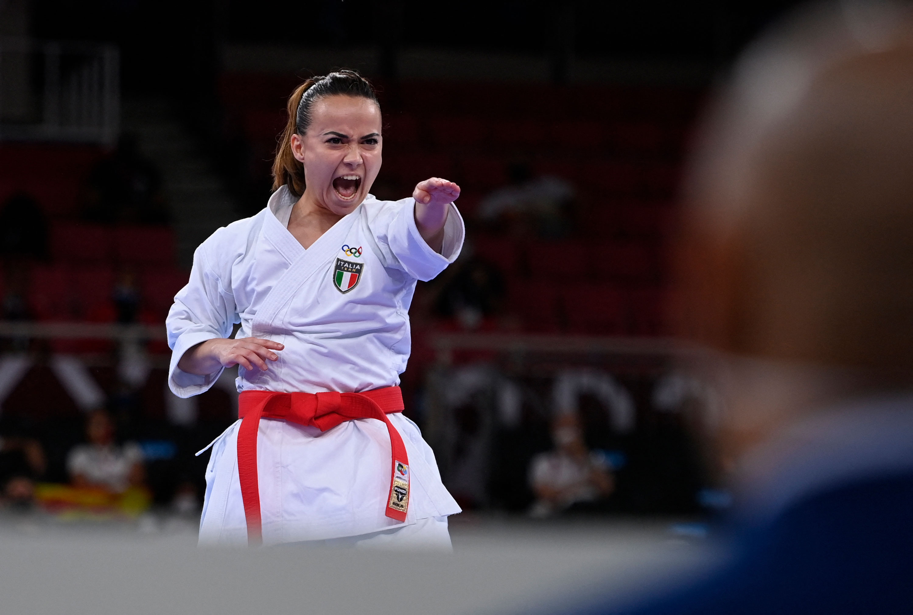 Italy's Viviana Bottaro performs in the kata event of karate competition on Thursday.