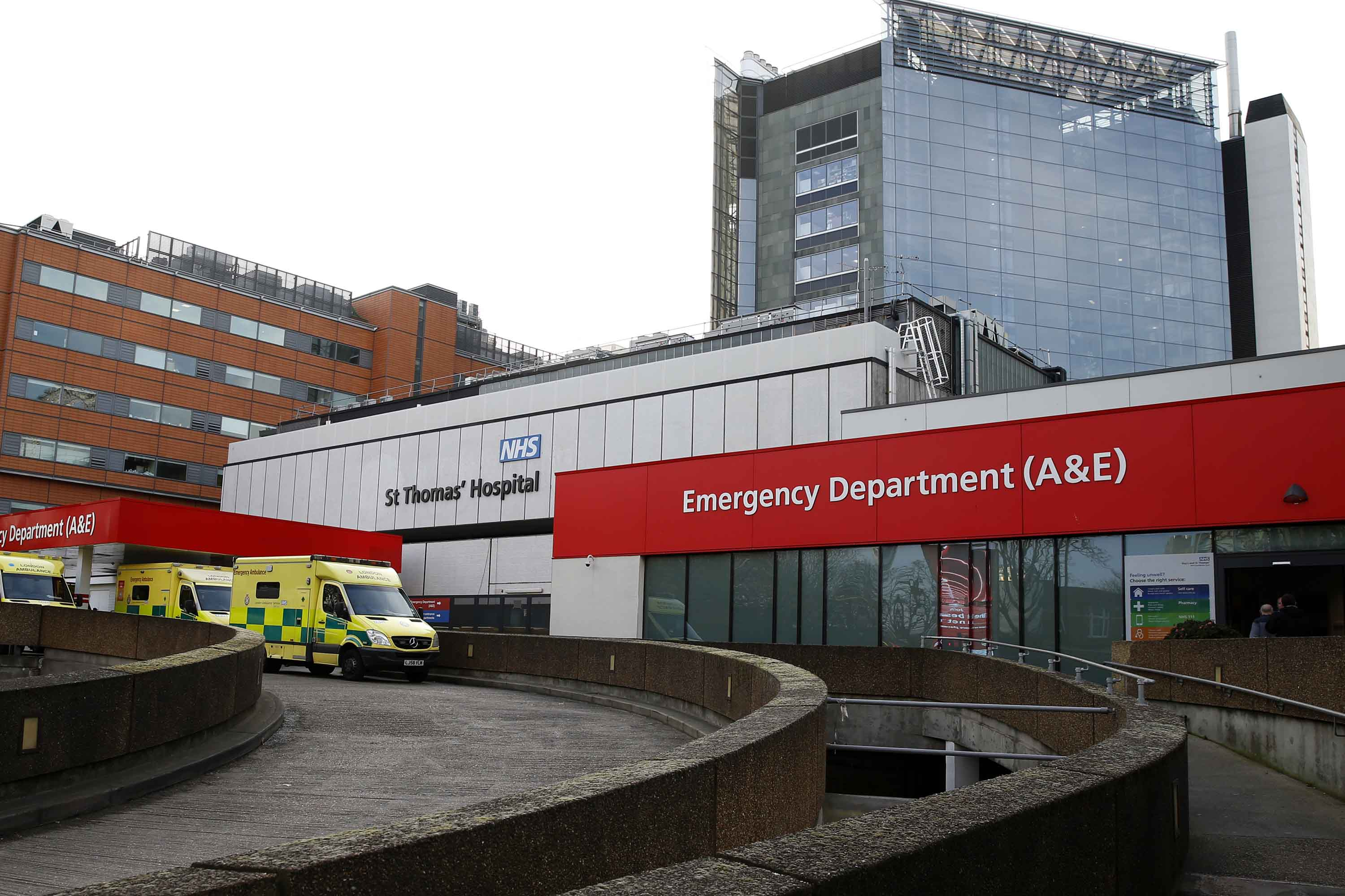 A general view shows the emergency department at St. Thomas' Hospital in London on February 7.