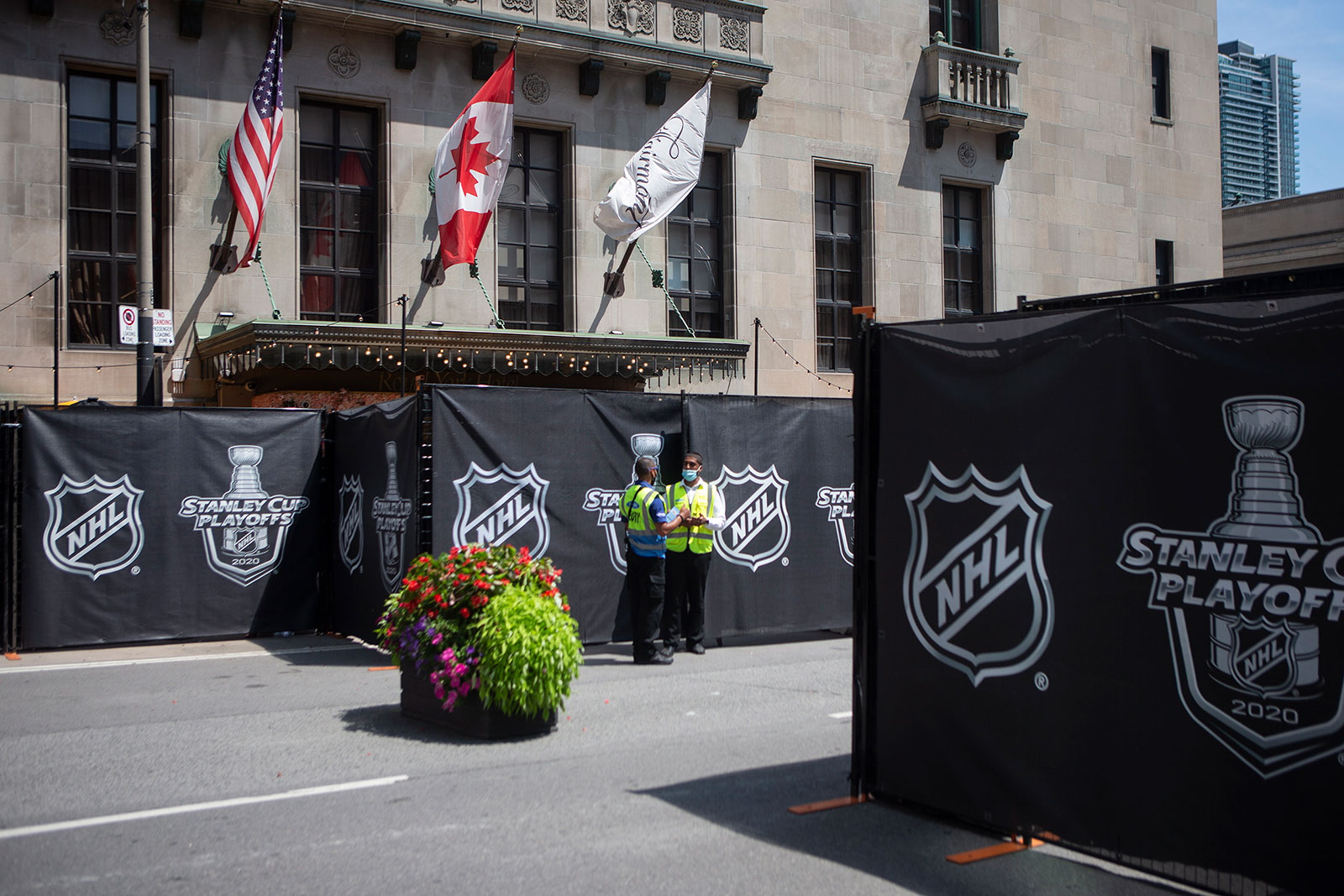 NHL signage surrounds a section of the Royal York hotel in Toronto on July 26. The NHL plans to resume play on August 1, with qualifying rounds in Edmonton and Toronto.