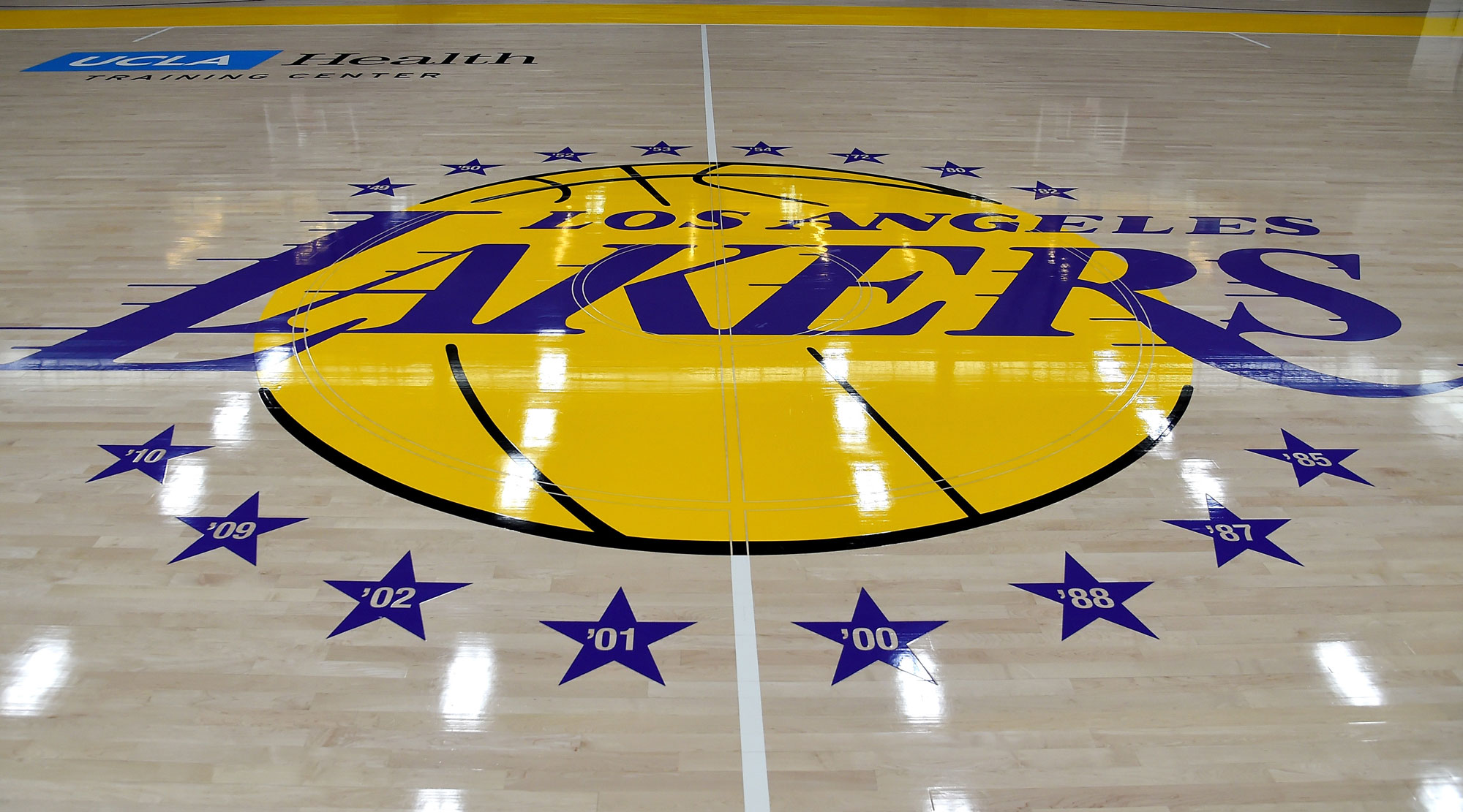 The Los Angeles Lakers logo is shown on the floor ofthe UCLA Health Training Center on May 29, 2018 in Los Angeles.