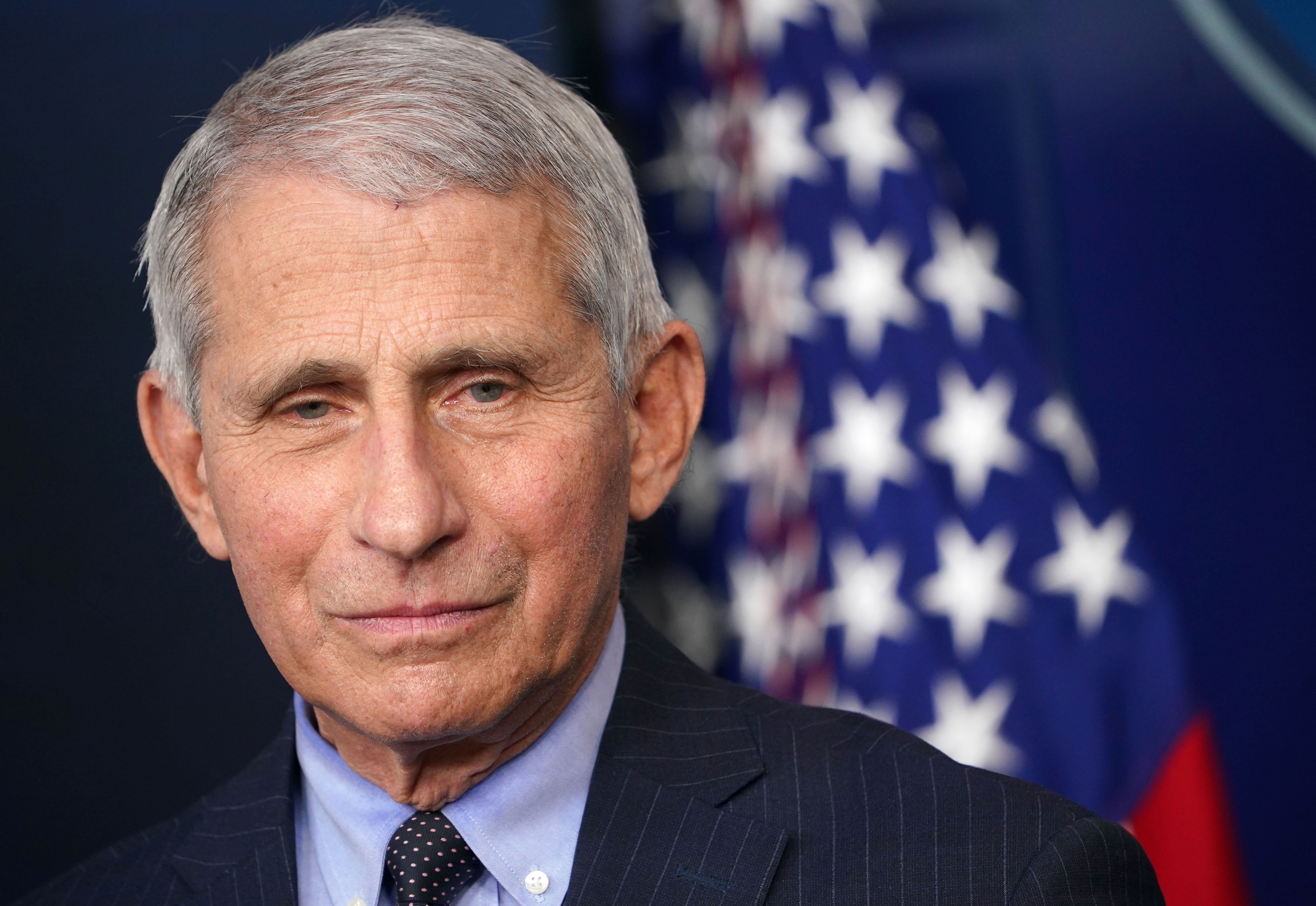 Dr. Anthony Fauci, director of the National Institute of Allergy and Infectious Diseases, attends a briefing at the White House on January 21.