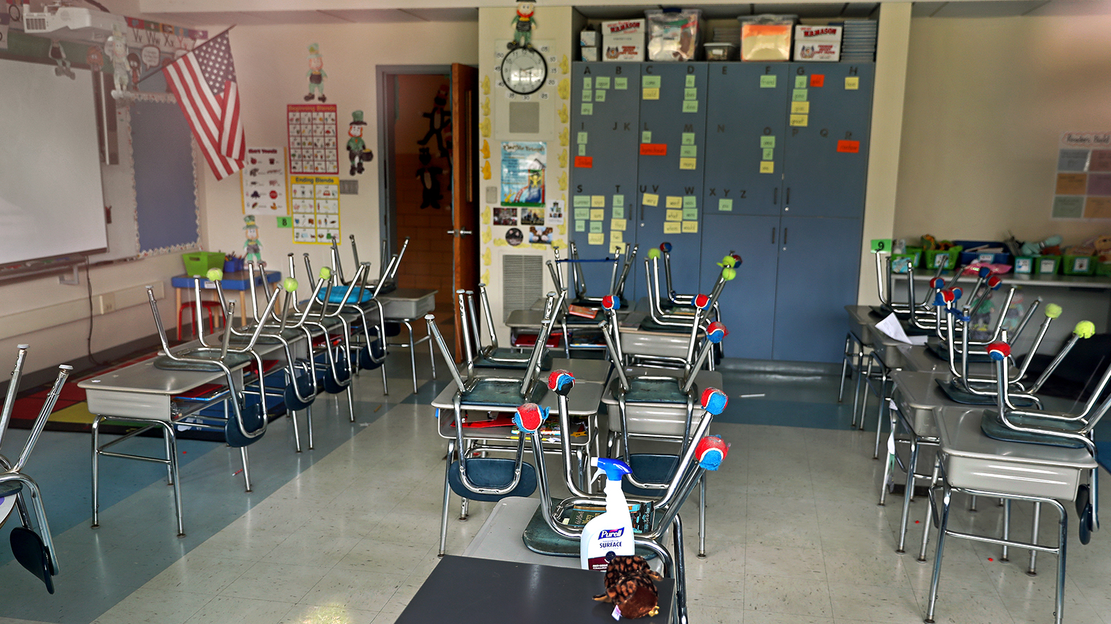 A classroom sits empty in Norwell, Massachussetts on April 21.