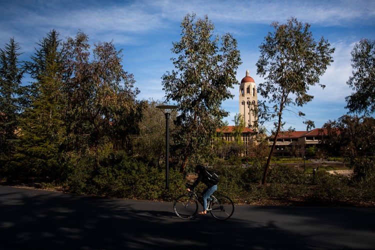 Hoover Tower looms during a quiet morning at Stanford University on March 9, in Stanford, California.