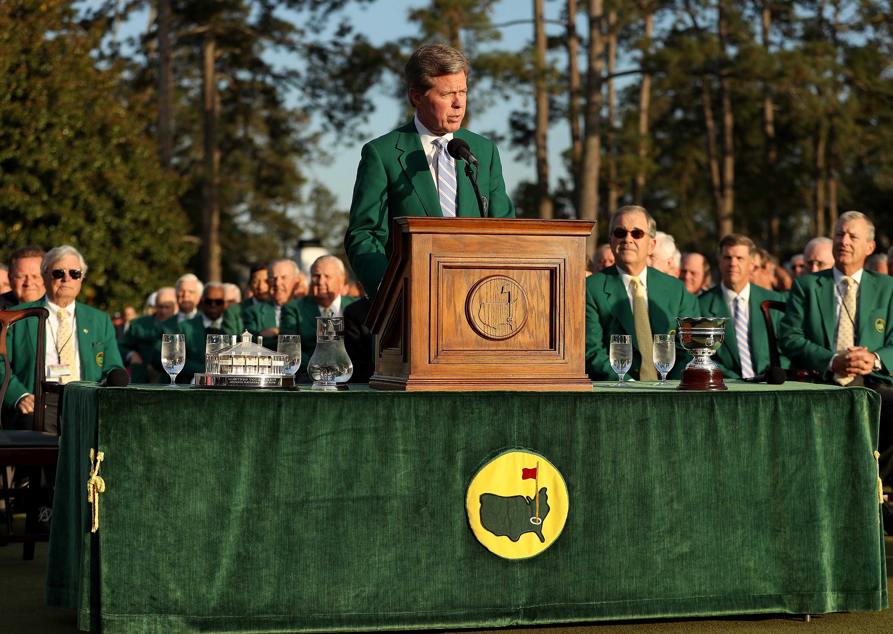 Fred Ridley, Chairman of Augusta National Golf Club, speaks during the green jacket ceremony for the 2018 Masters Tournament in Augusta, Georgia.