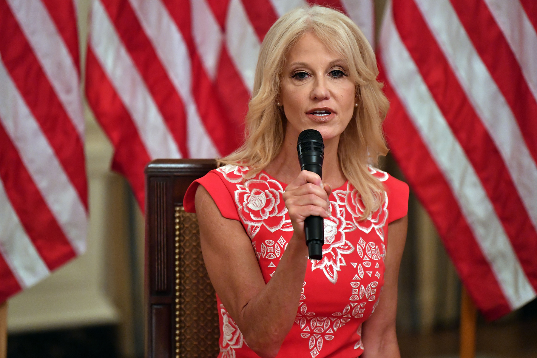 """Counselor to the President Kellyanne Conway speaks during the """"Getting America's Children Safely Back to School"""" event in the State Room of the white House in Washington, DC, on August 12."""