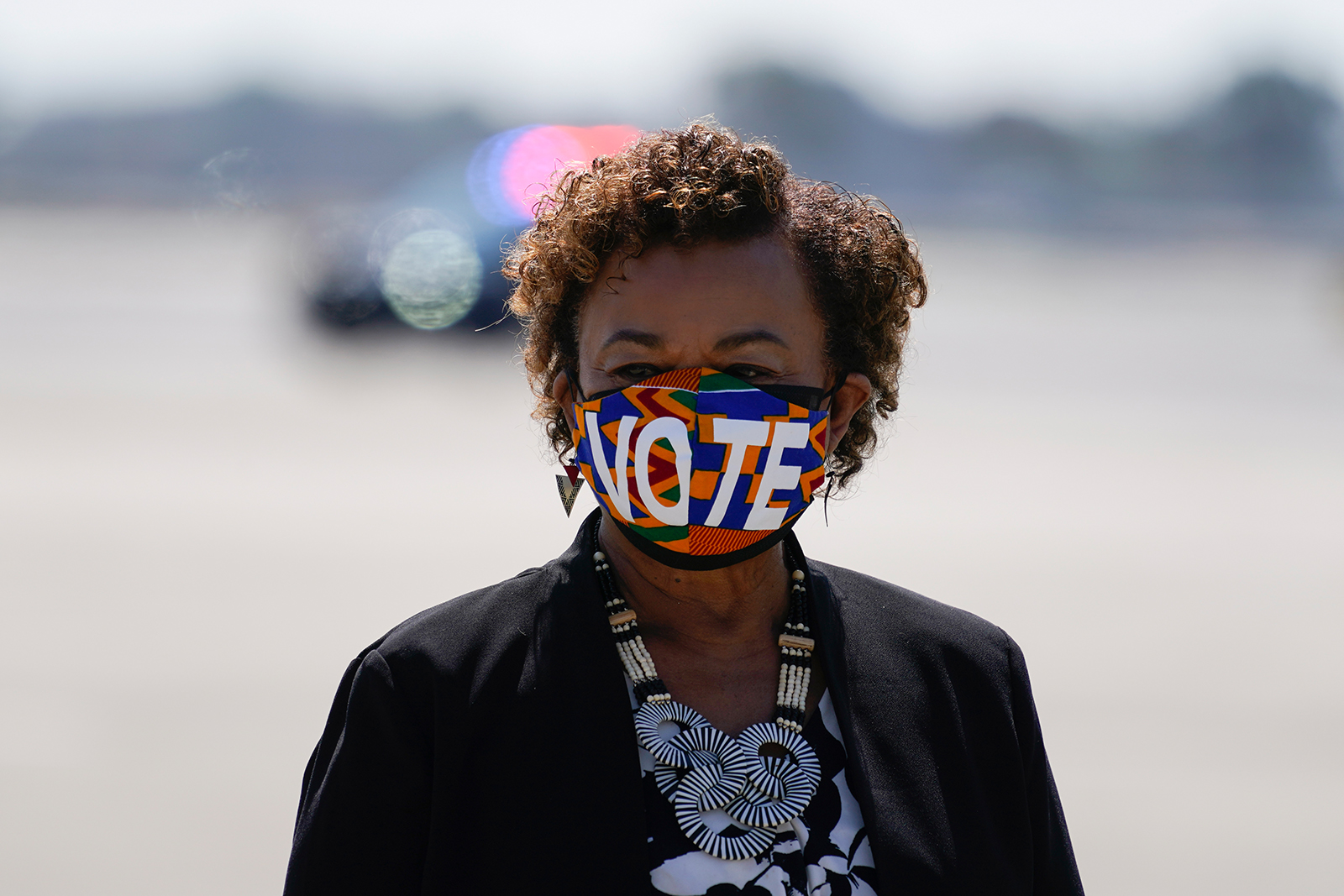 Rep. Barbara Lee, D-Calif., waiting to greet Vice President Kamala Harris at Oakland International Airport on Wednesday, Sept. 8, 2021, to campaign for California Gov. Gavin Newsom, who faces removal from office in a Sept. 14 recall election.