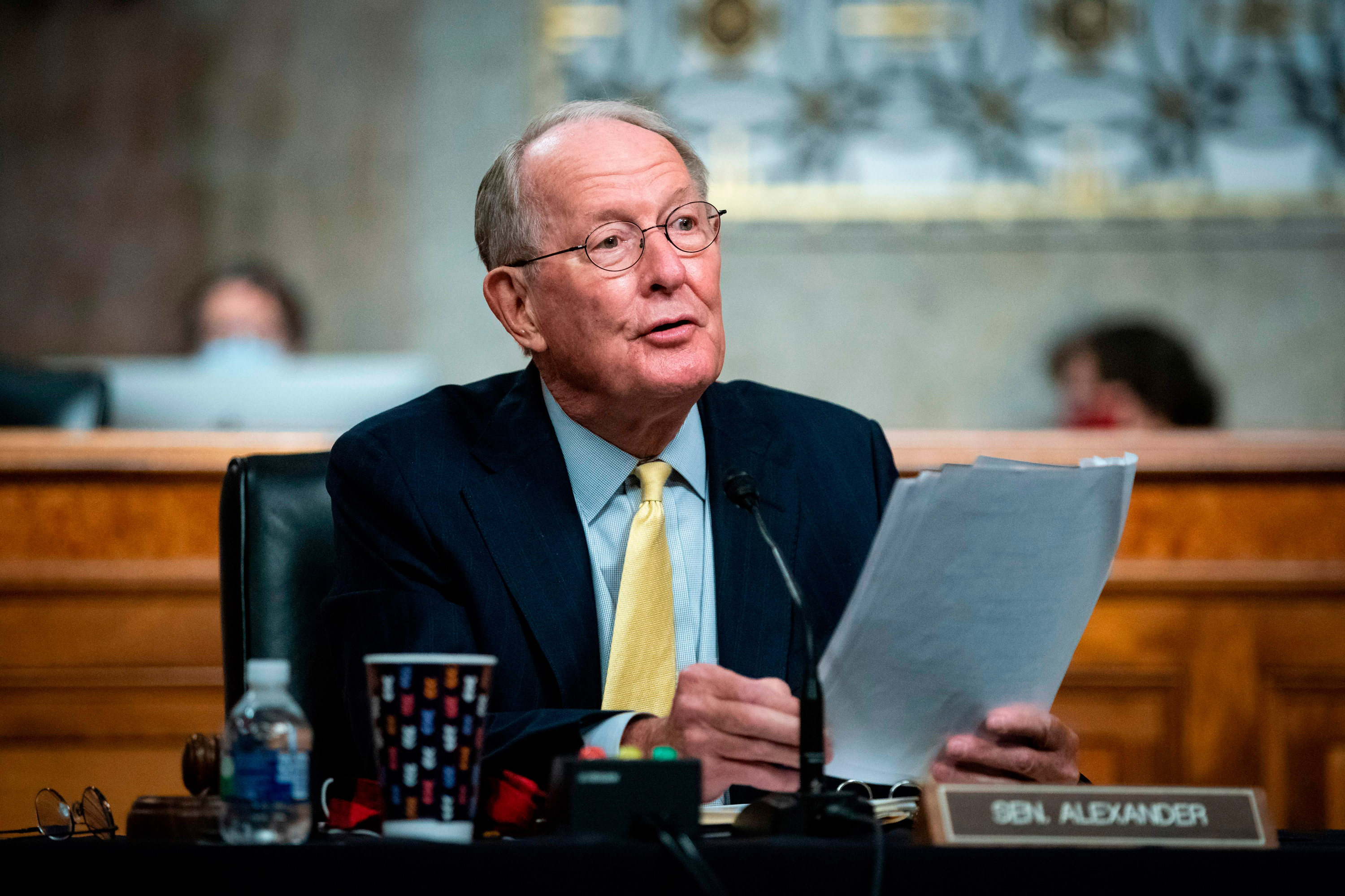 Senator Lamar Alexander, a chairman of the Senate Health Education Labor and Pensions Committee, speaks during a hearing on the US response to the coronavirus pandemic on Capitol Hill in Washington, DC, on June 30.