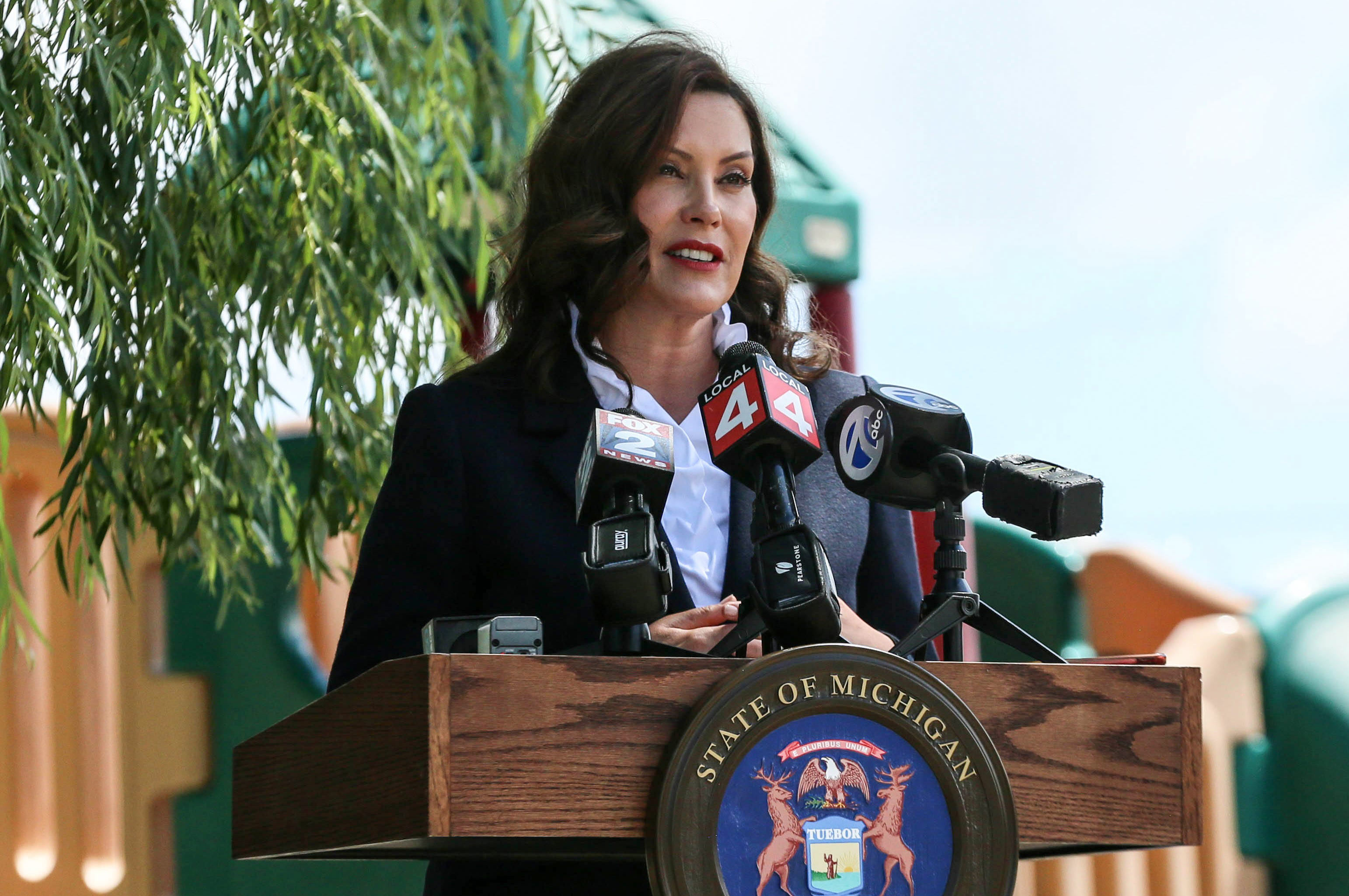 Michigan Gov. Gretchen Whitmer speaks during press conference at Troy Babes in Toyland in Troy, Michigan, on June 14.