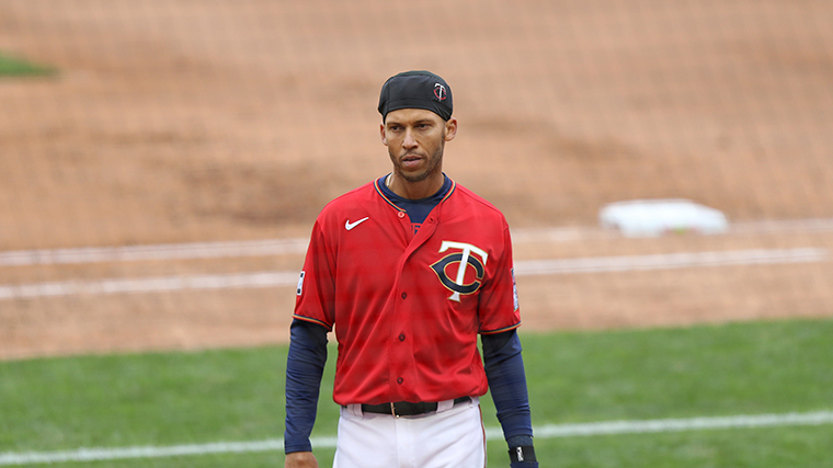 Minnesota Twins' Andrelton Simmons  seen during a baseball game against the Seattle Mariners, Saturday, April 10, in Minneapolis.