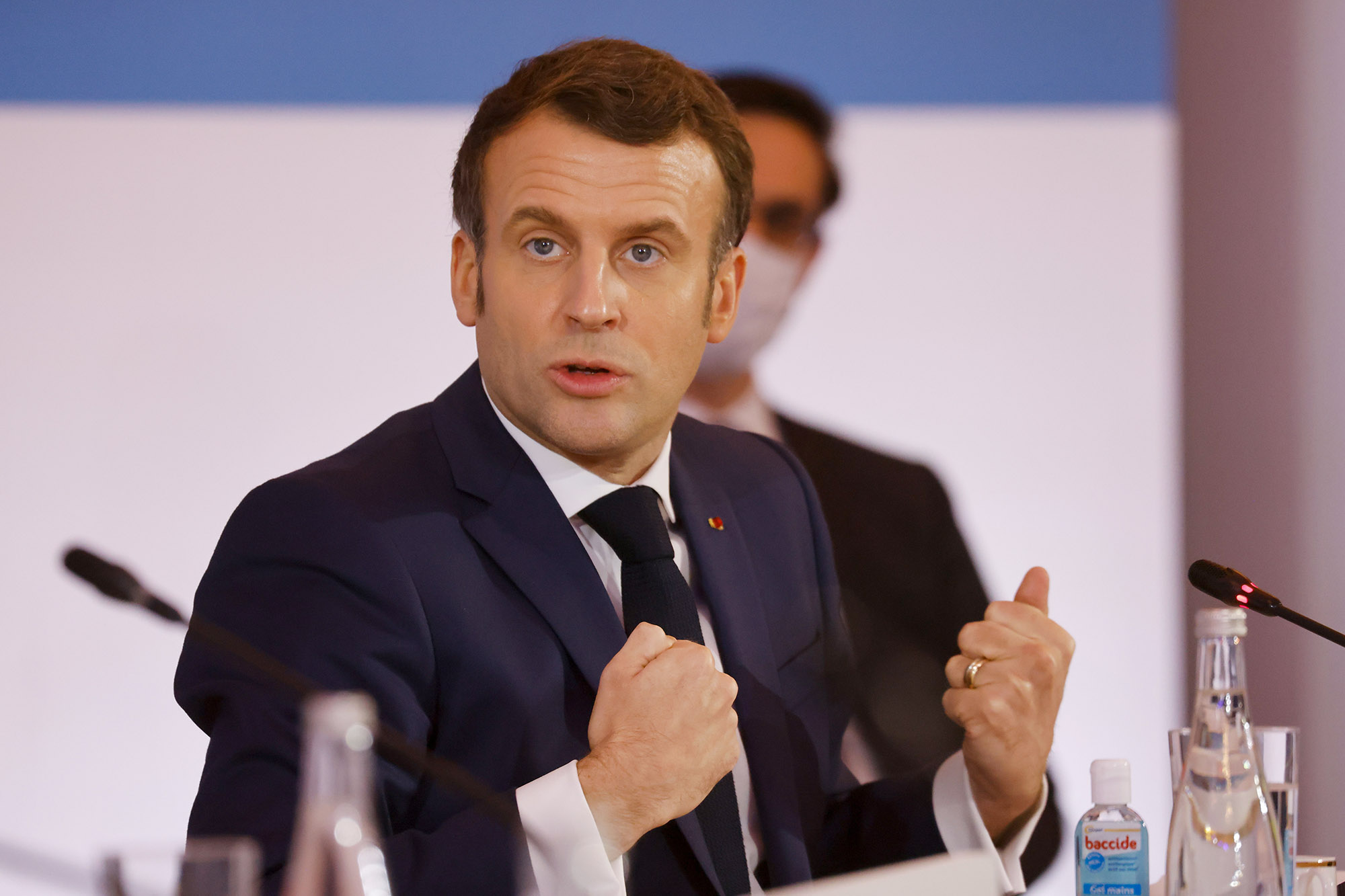 French President Emmanuel Macron delivers a speech at the end of the One Planet Summit held at the Elysee Palace, in Paris, France on January 11, 2021.