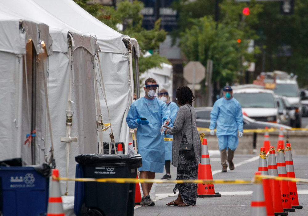 A free public Covid-19 testing site opens at Judiciary Square in Washington, D.C., on Wednesday, June 17.