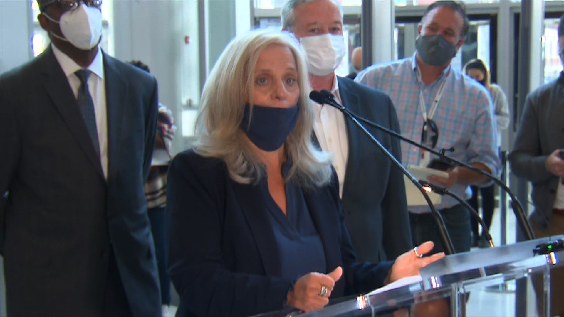 Lisa Deeley, chair of the Philadelphia City Commissioners, speaks during a press conference on November 6 in Philadelphia.