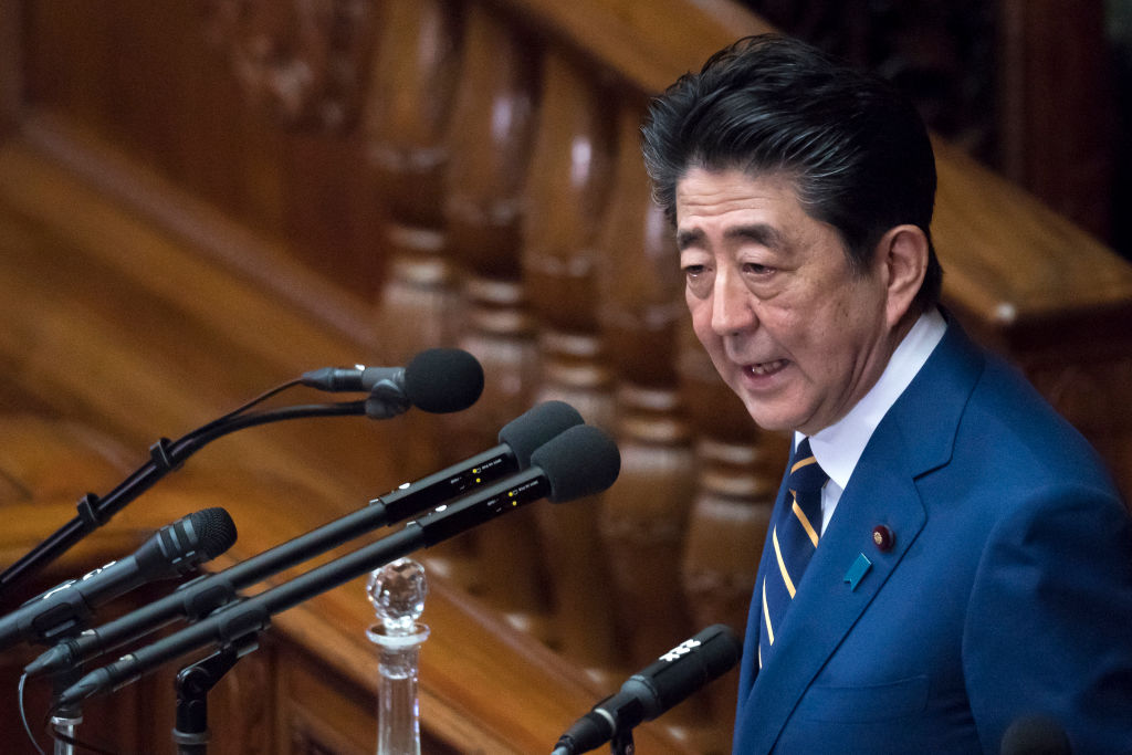 Japan's Prime Minister Shinzo Abe speaks to the lower house of the parliament on January 20, 2020 in Tokyo.