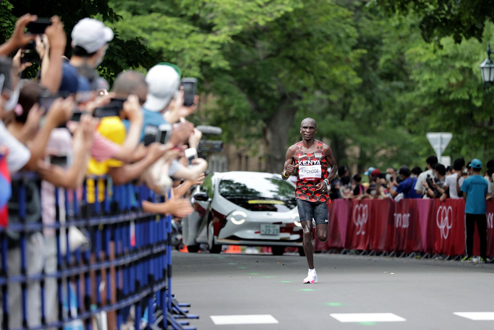 Kenya's Eliud Kipchoge competes in the marathon final on Sunday.