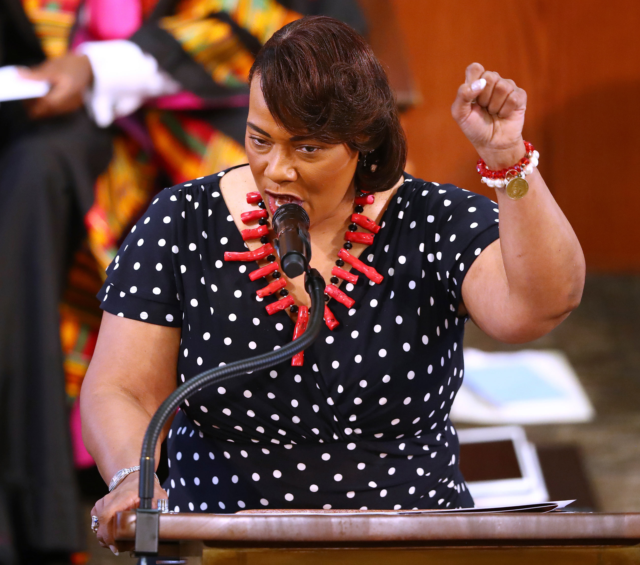 Rev. Dr. Bernice King makes a fist saying' no justice no peace' while speaking at Rayshard Brooks funeral in Ebenezer Baptist Church on June 23 in Atlanta.