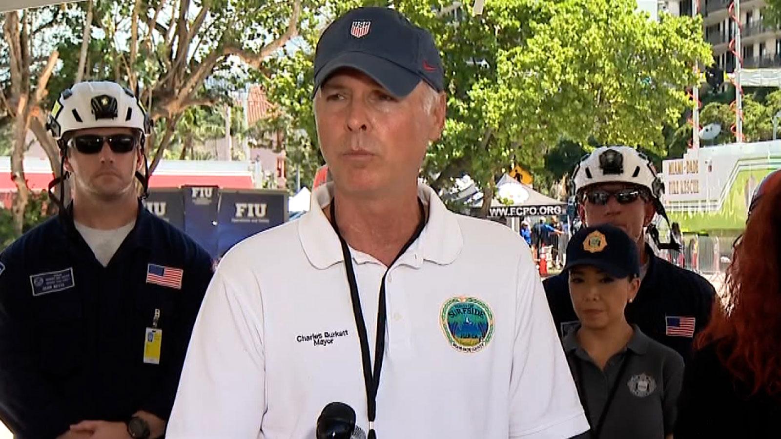 Surfside Mayor Charles Burkett speaks at a press conference in Surfside, Florida, on July 3, 2021.