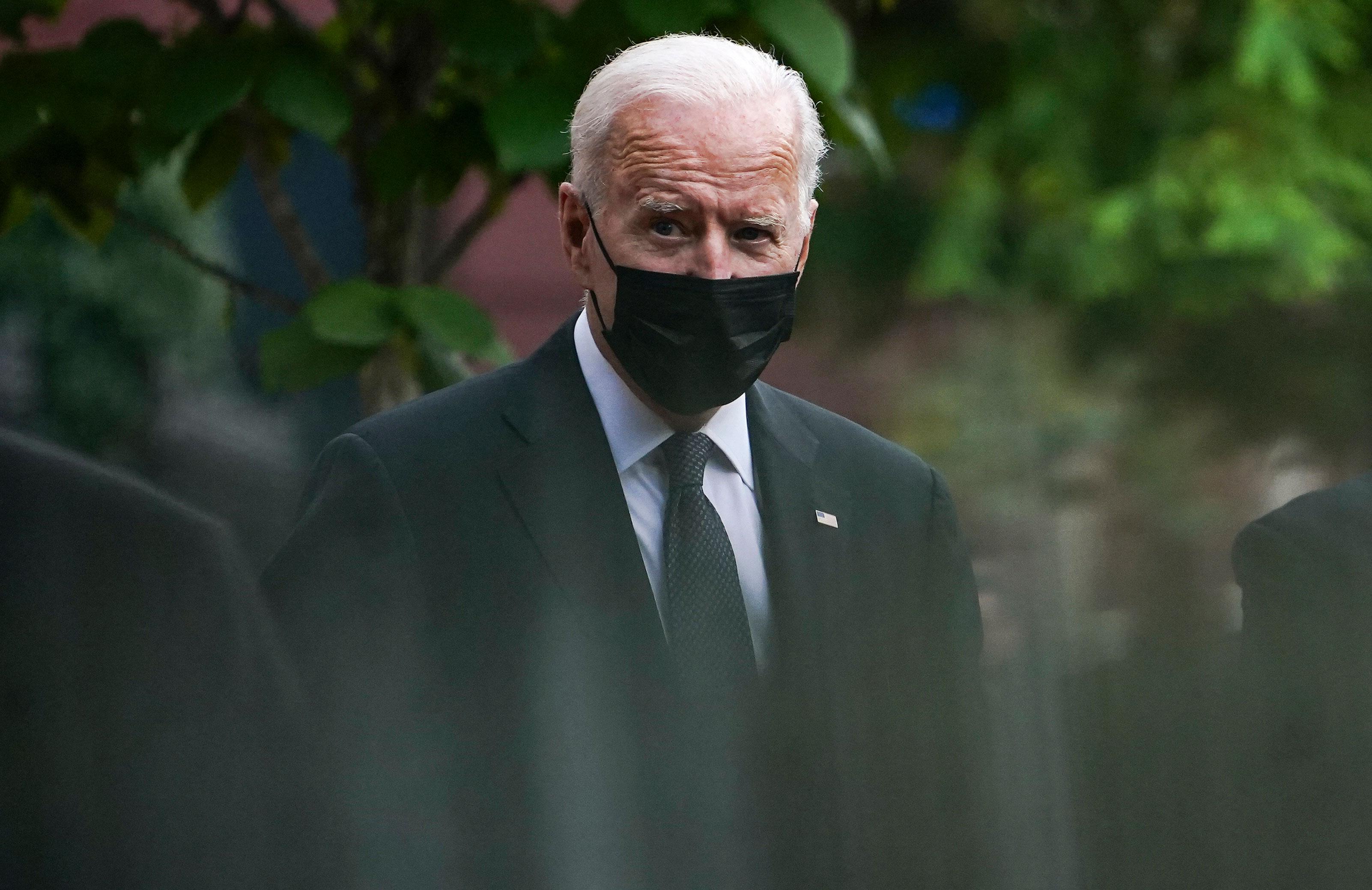 President Joe Biden leaves Holy Trinity church in the Georgetown neighborhood of Washington, DC, on August 29.