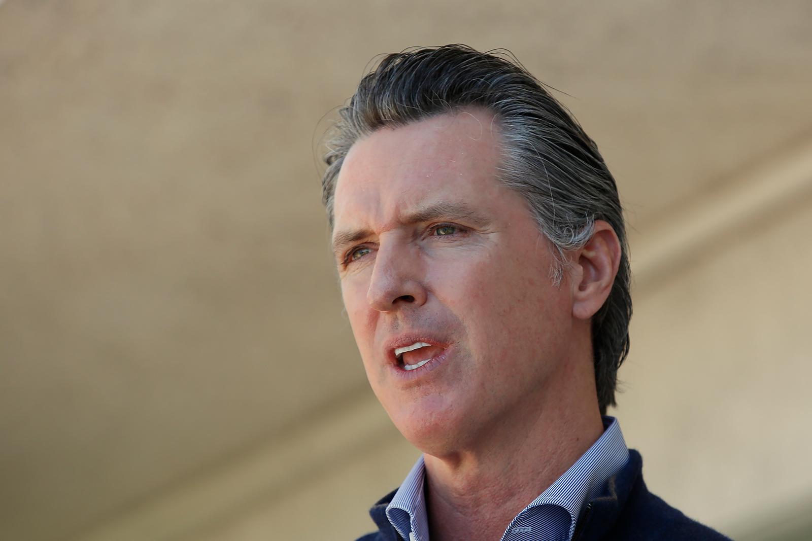 California Gov. Gavin Newsom speaks in Pittsburg, California on June 30.