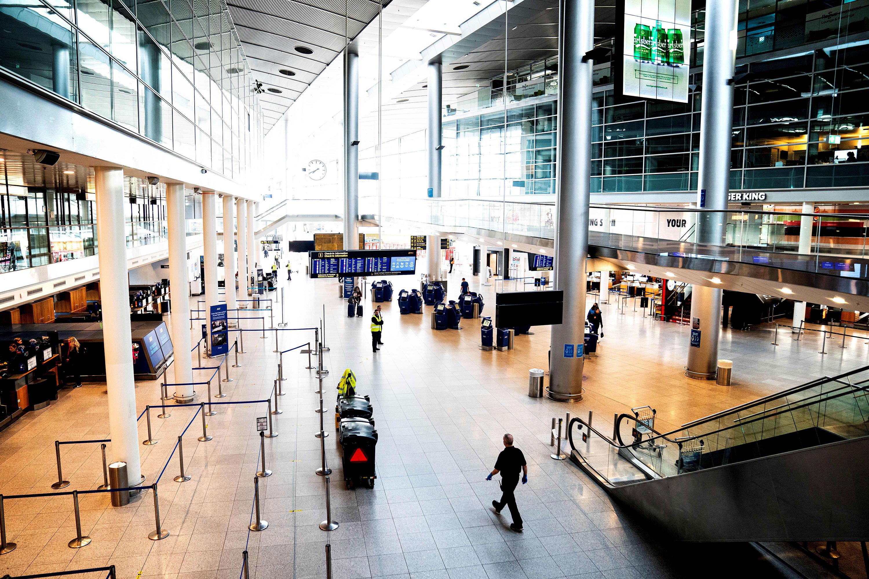 Empty terminal 3 at Copenhagen Airport Kastrup is seen on March 24.